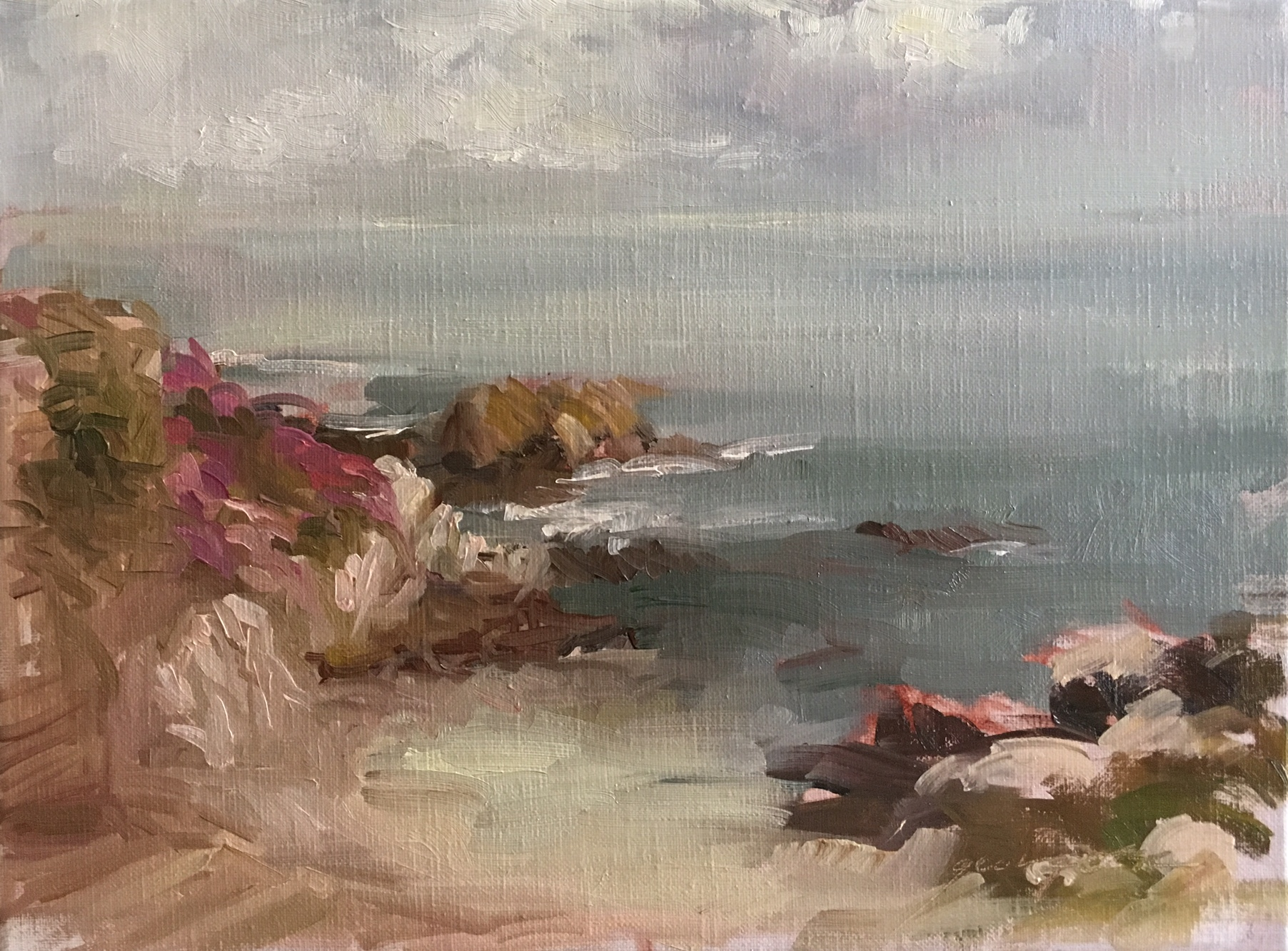 "Ice Plant over Cliffs, Pacific Grove, 9""x12"", Oil on Linen,  SOLD"