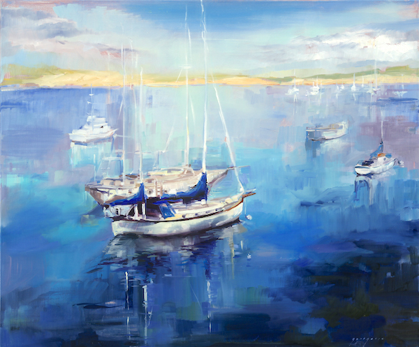 "Morro Bay Sail Boats, 30""x36"", oil on linen SOLD"