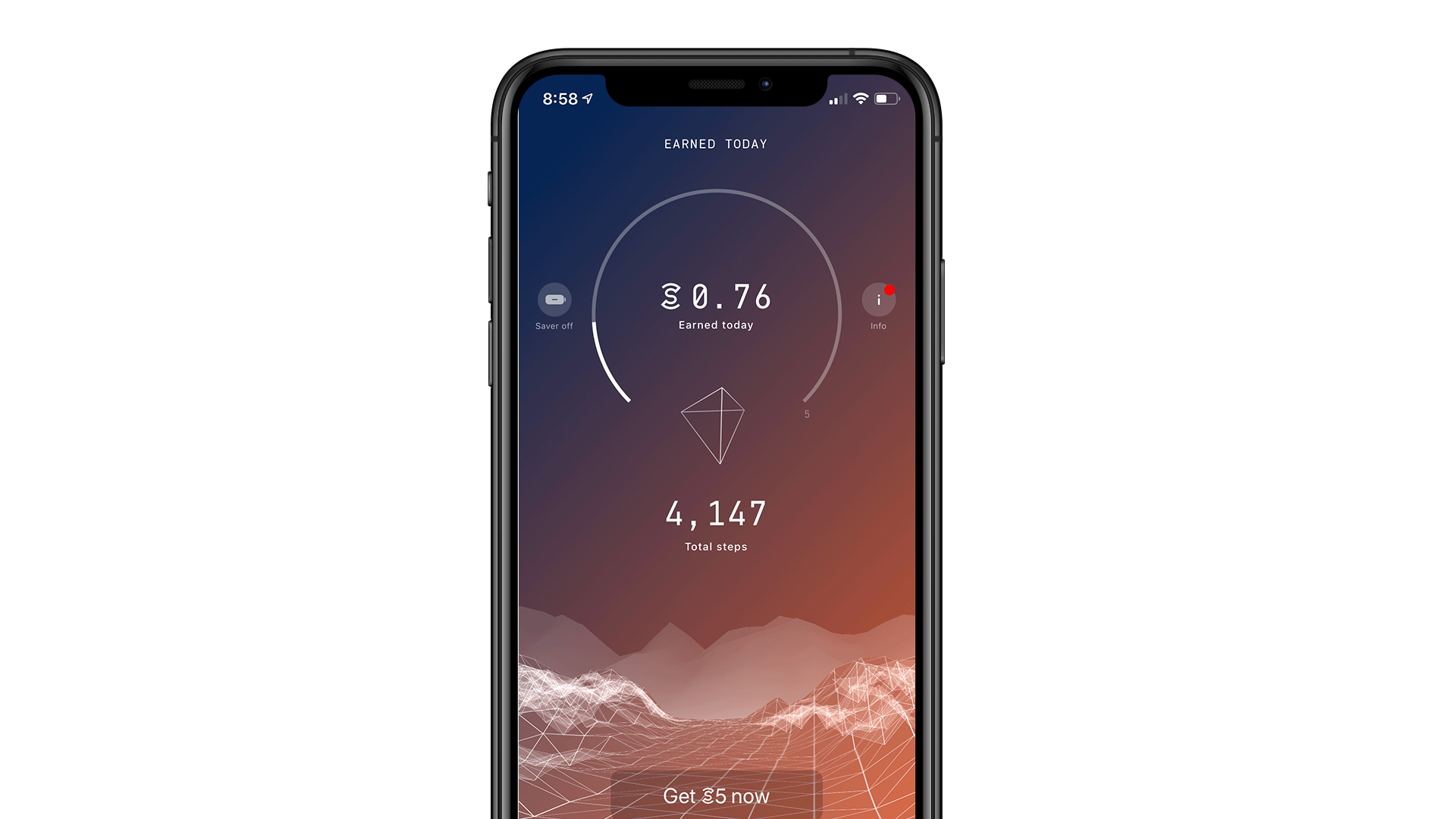 Sweatcoin App displayed on iPhone XS