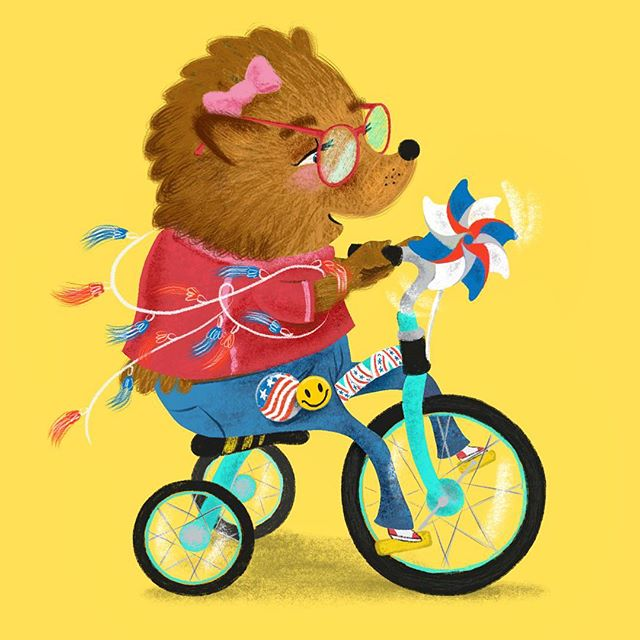 Working on animal characters with an Americana theme. . . . . . #characterdesign #kidlitart #childrensillustration #4thofjuly #hedgehogillustration #scbwi #procreateapp