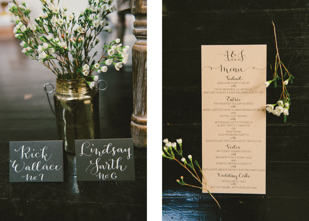 Place Cards & Kraft Paper Menu