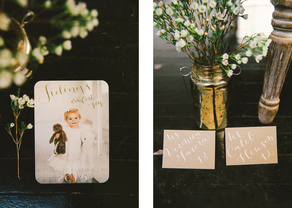 Holiday Card & Kraft Place Cards
