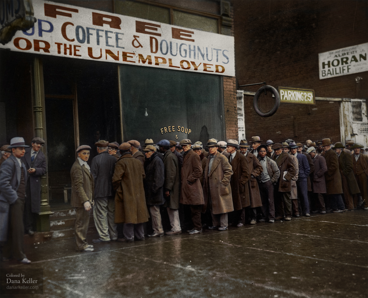 Al Capone's soup kitchen during the Great Depression, Chicago, 1931
