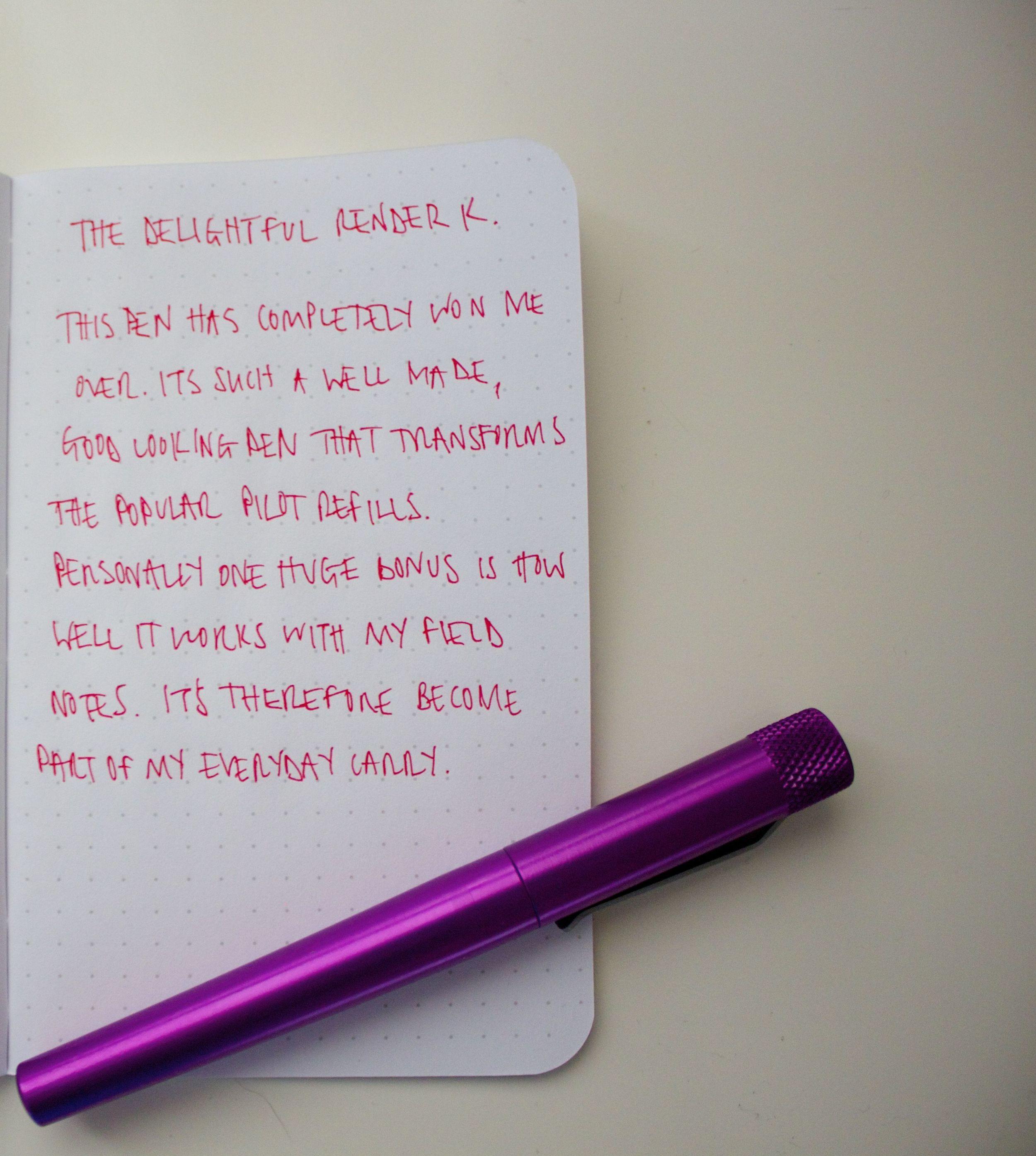 Render K handwritten in my Field Notes of course