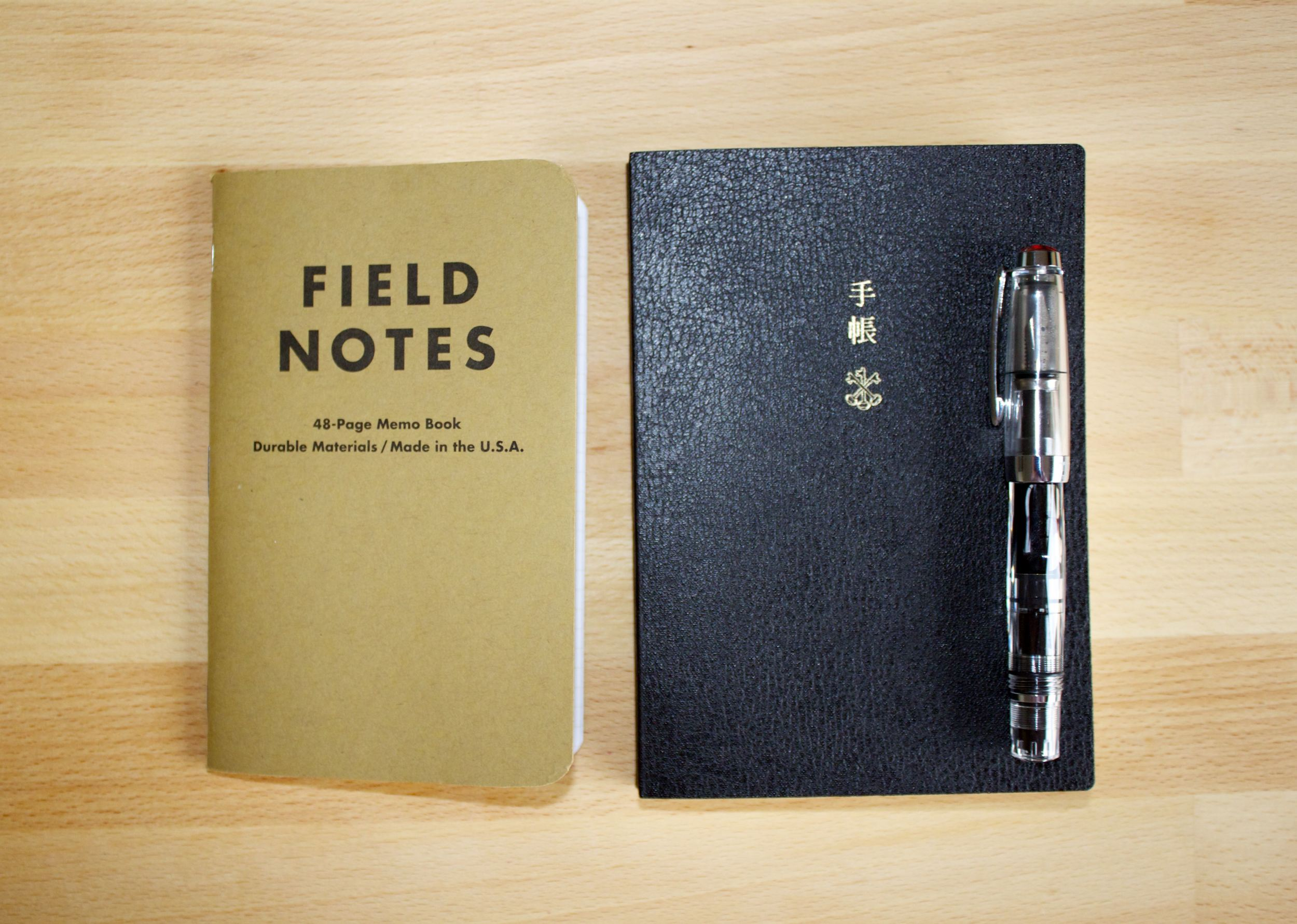 Size comparison against Field Notes and a TWSBI Mini