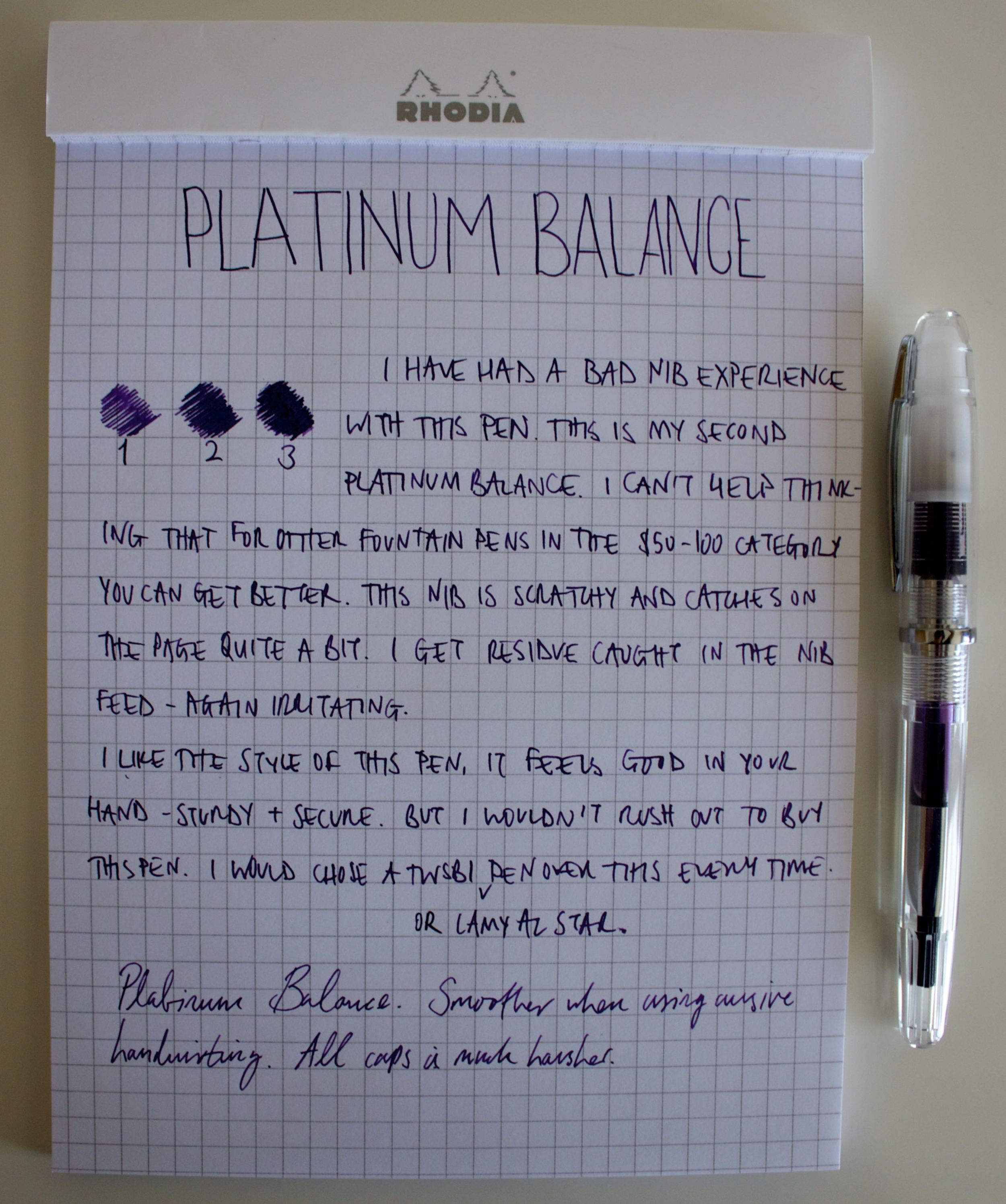 Hand written review with the Balance