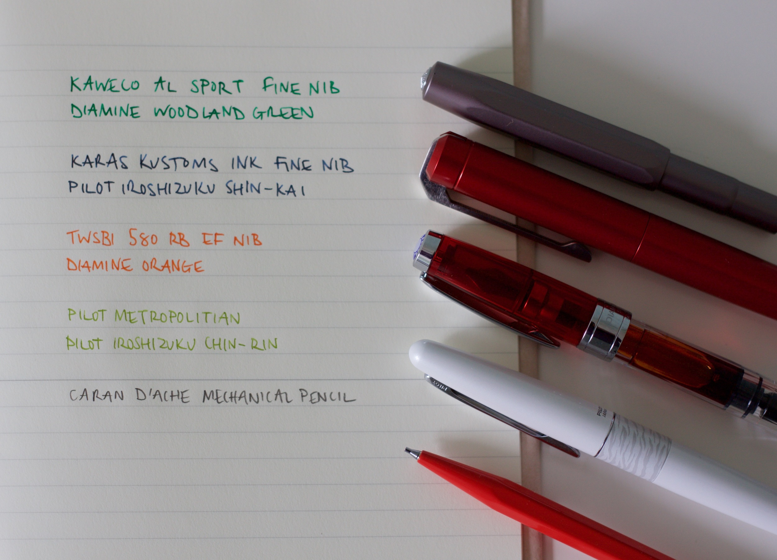This months pens and pencils written in my Midori MD A5 Notebook