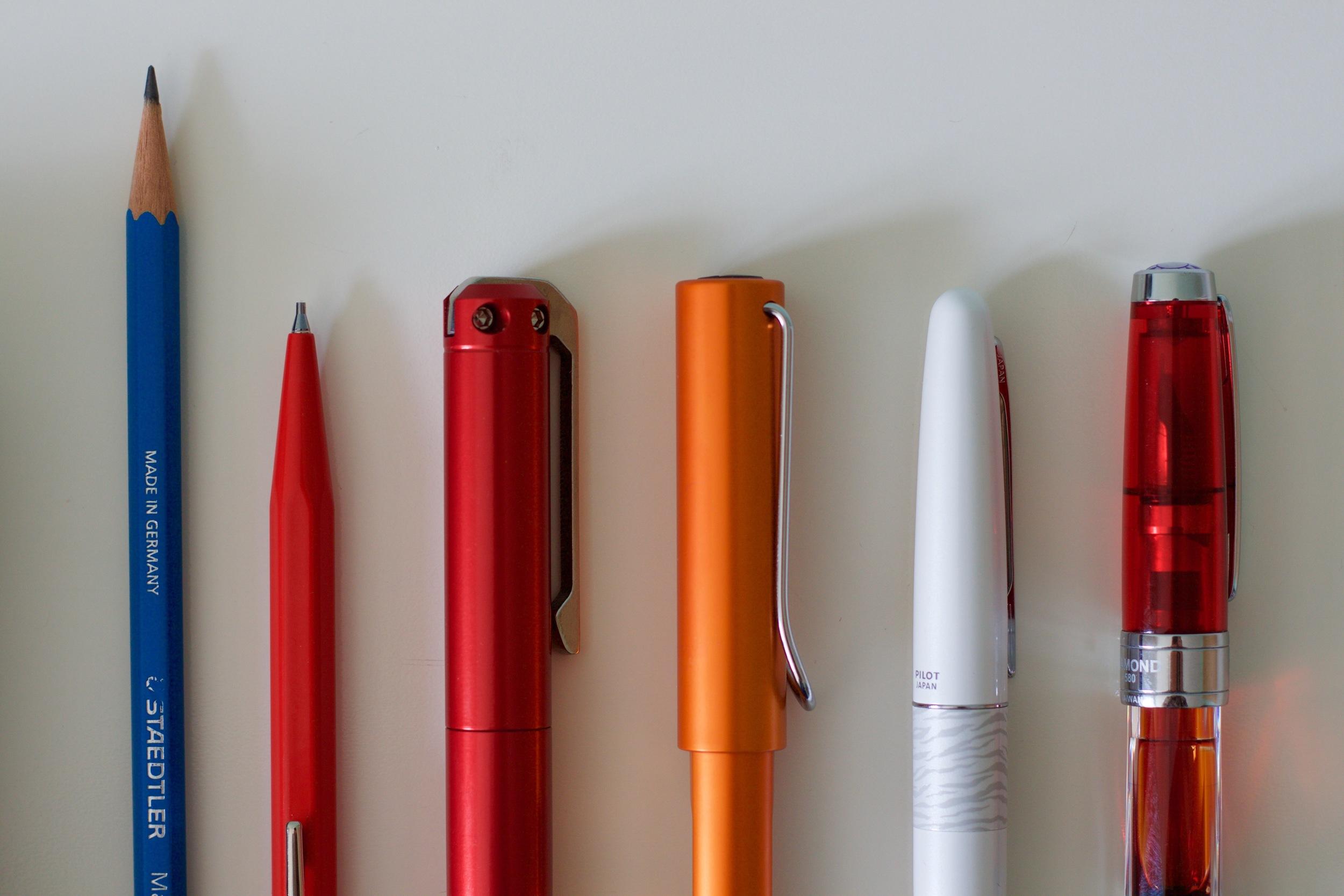 Staedtler Mars Lumograph, Caran d'Ache Mechanical Pencil, Karas Kustoms Ink, Lamy AL Star, Pilot Metropolitan, TWSBI 580 RB