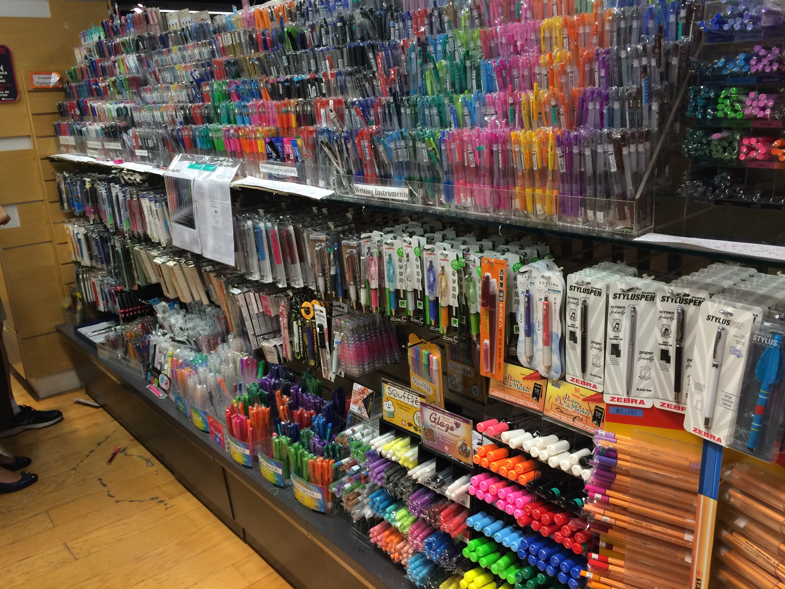 Huge gel pen selection on offer