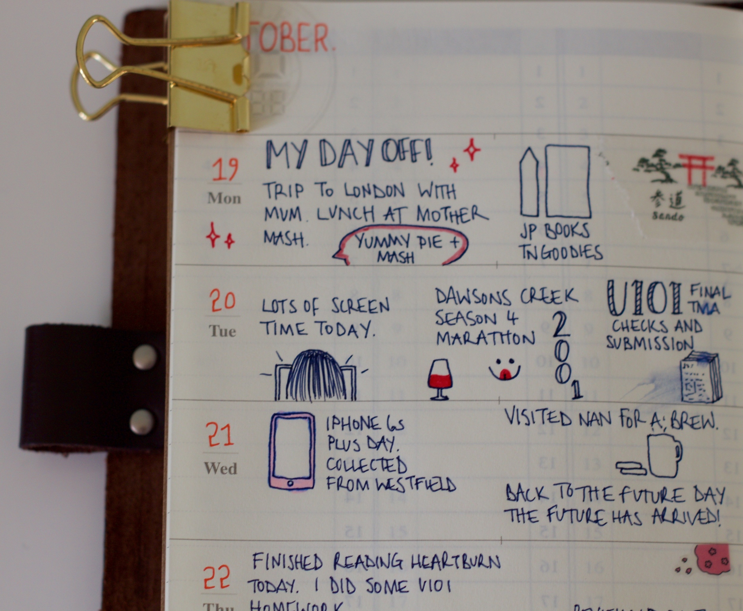 Early days of my weekly planner