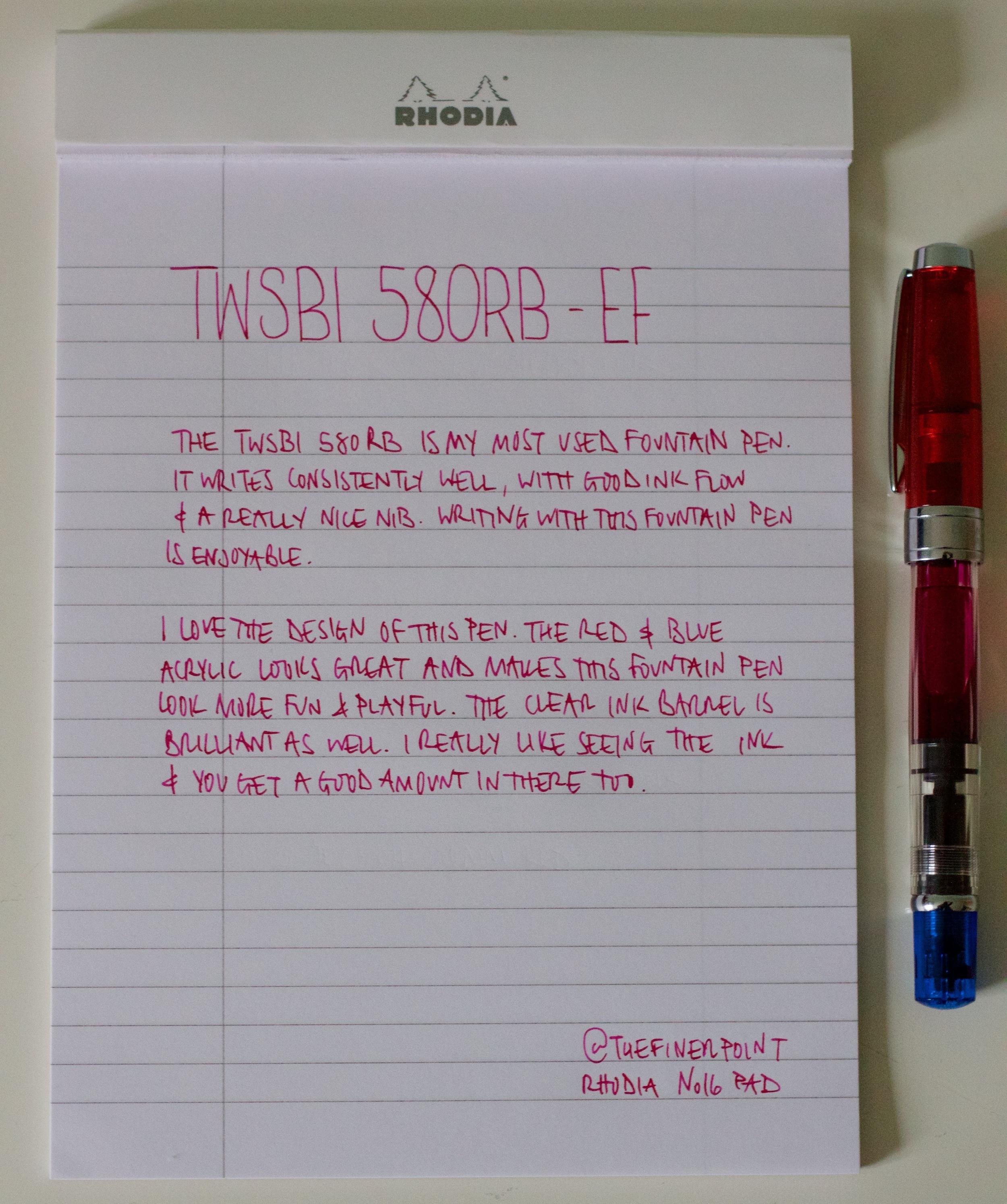 A handwritten review using the TWSBI 580RB