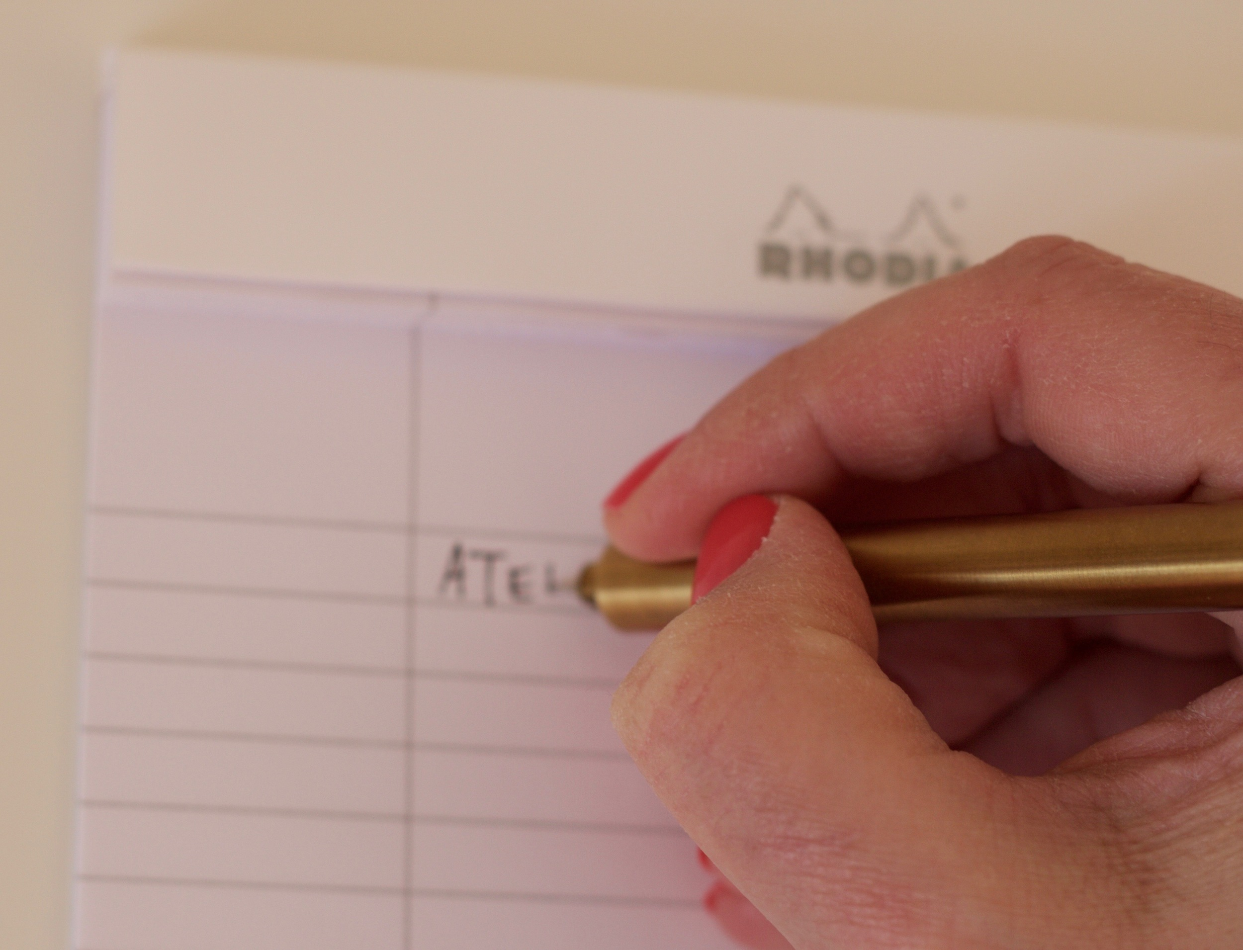 A clear line of sight when writing