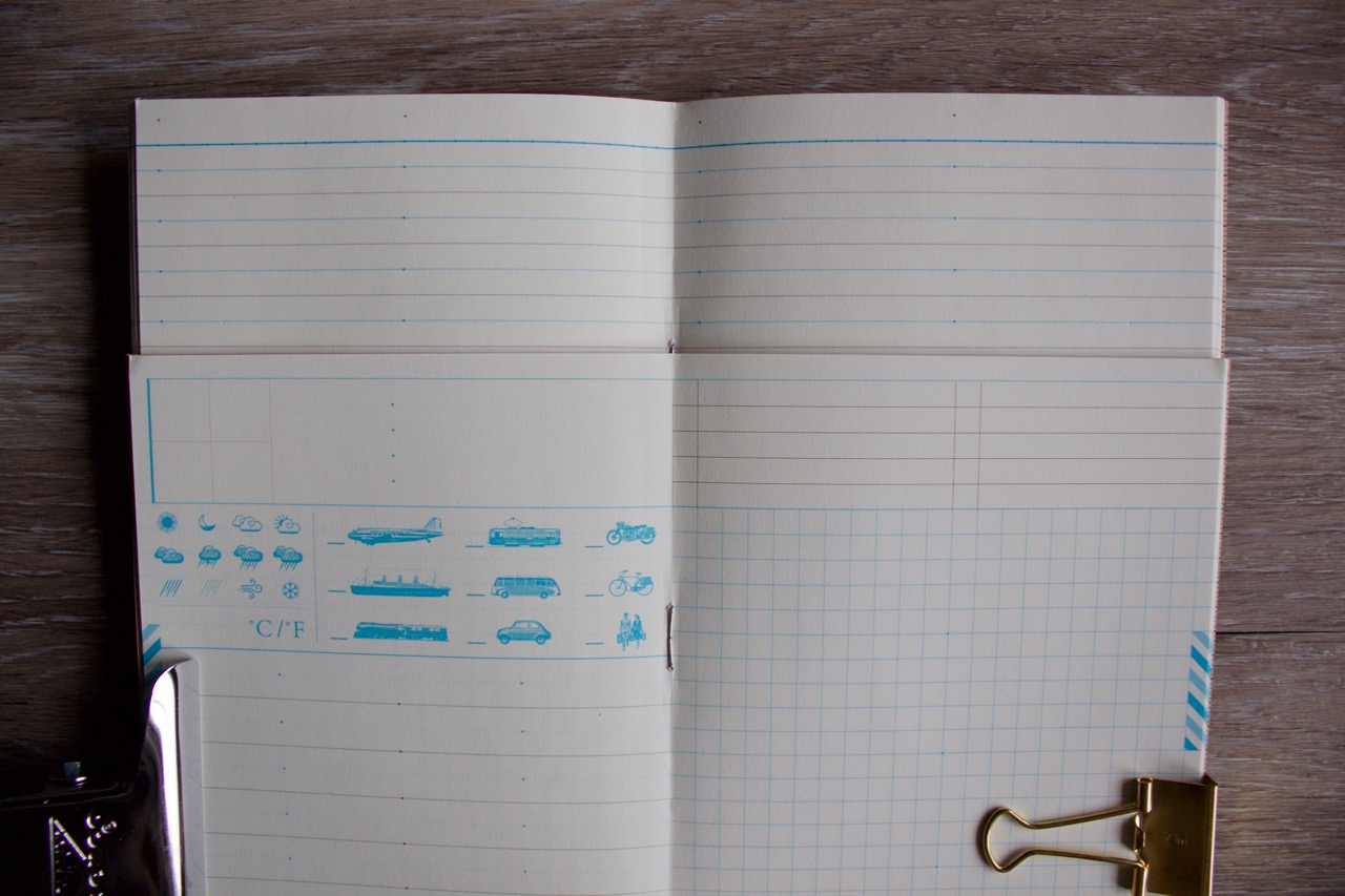 Top is the ruled grid, the bottom is the travel journal grid system