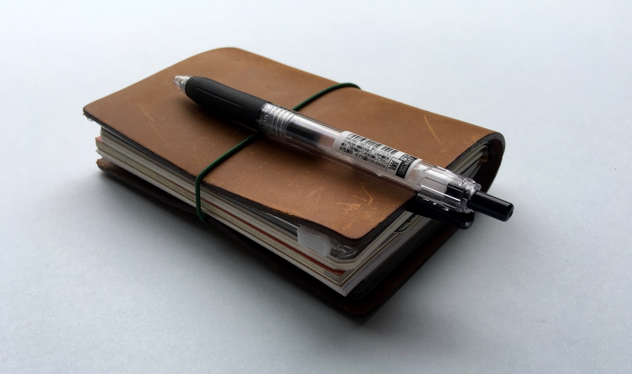 My Sarasa Clip attached to my Travelers Notebook