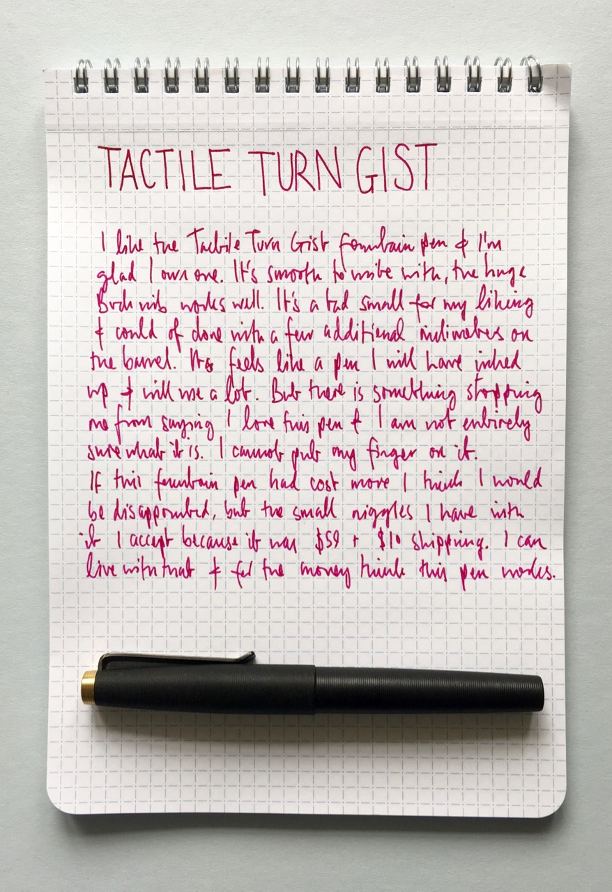 Handwritten review with the Gist on the Nock Co A5 notebook
