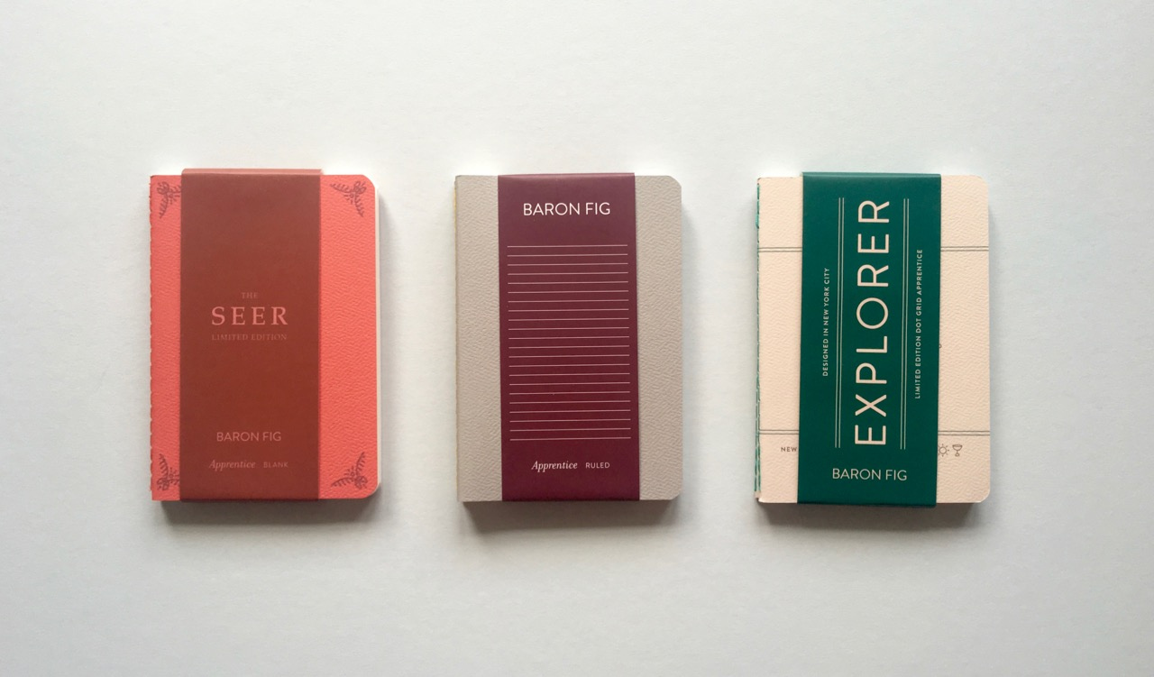 A number of different Baron Fig pocket (previously Apprentice) notebooks