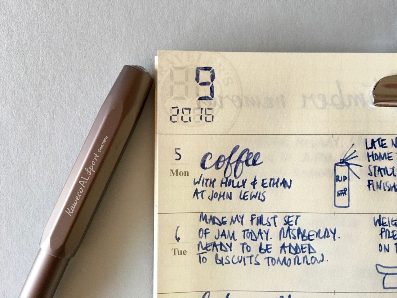 Daily reflections in my Travelers Notebook weekly refill