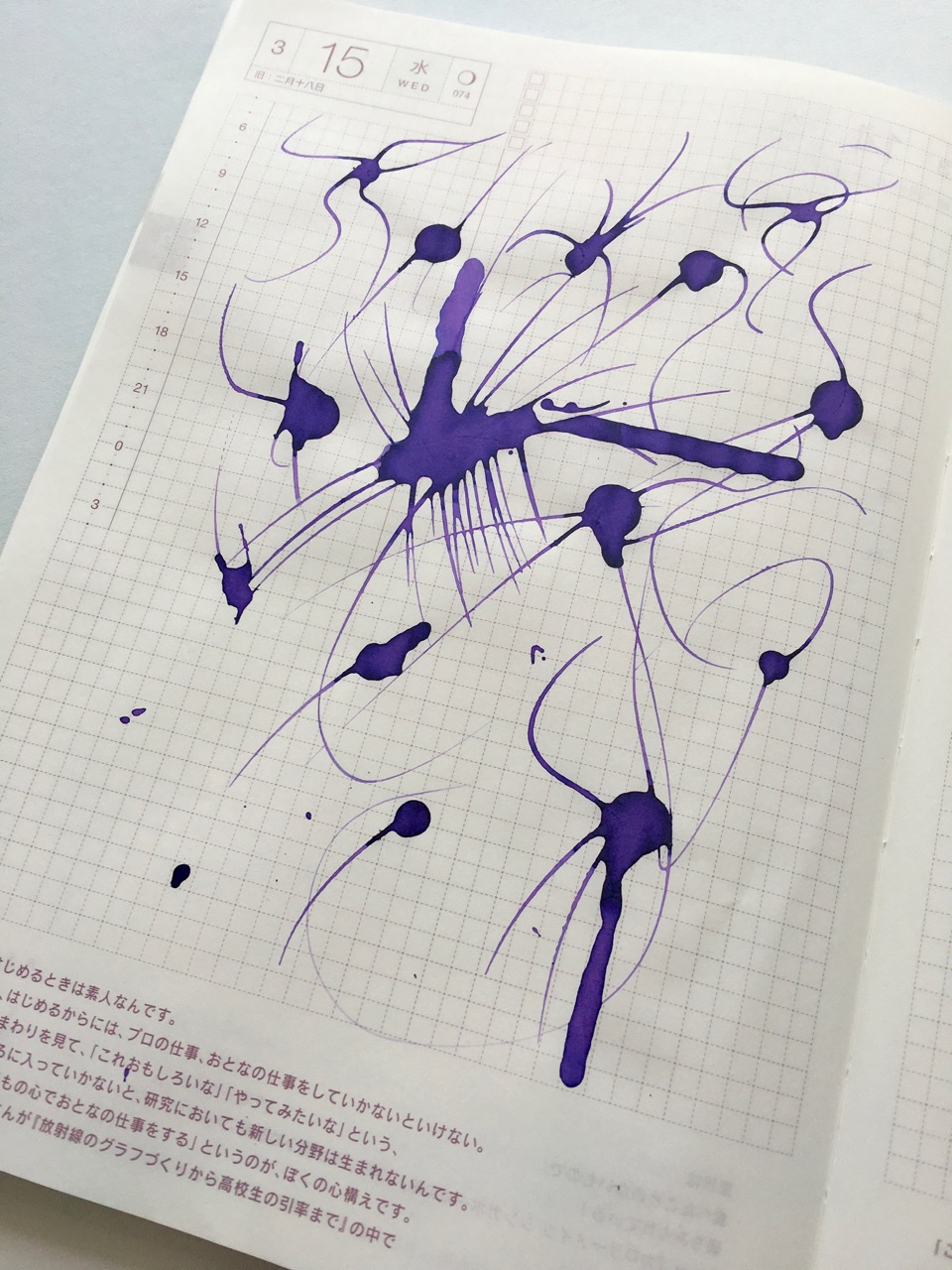 Ink spots in my Hobonichi Techo