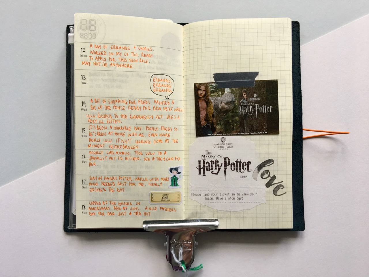 A week of Kin-Mokusei in my Travelers Notebook
