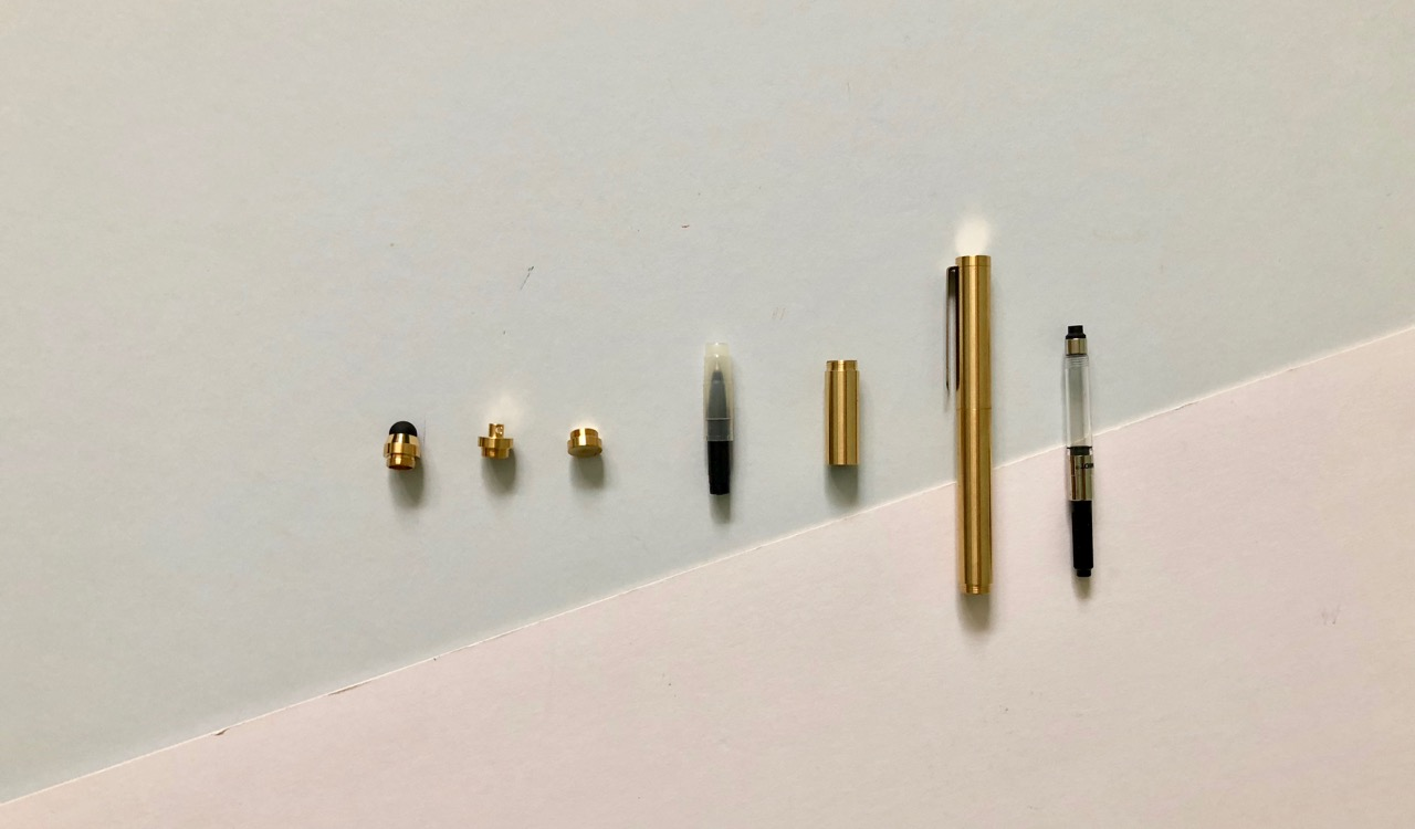 All of the Inventery pocket fountain pen parts.