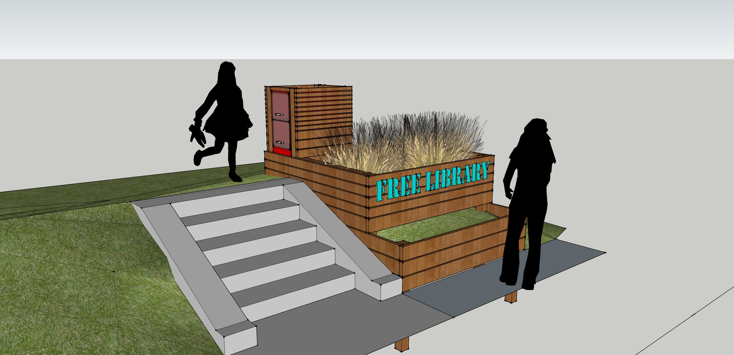 A quick modeling exercise to see how our proposed little free library could fit onto the site.