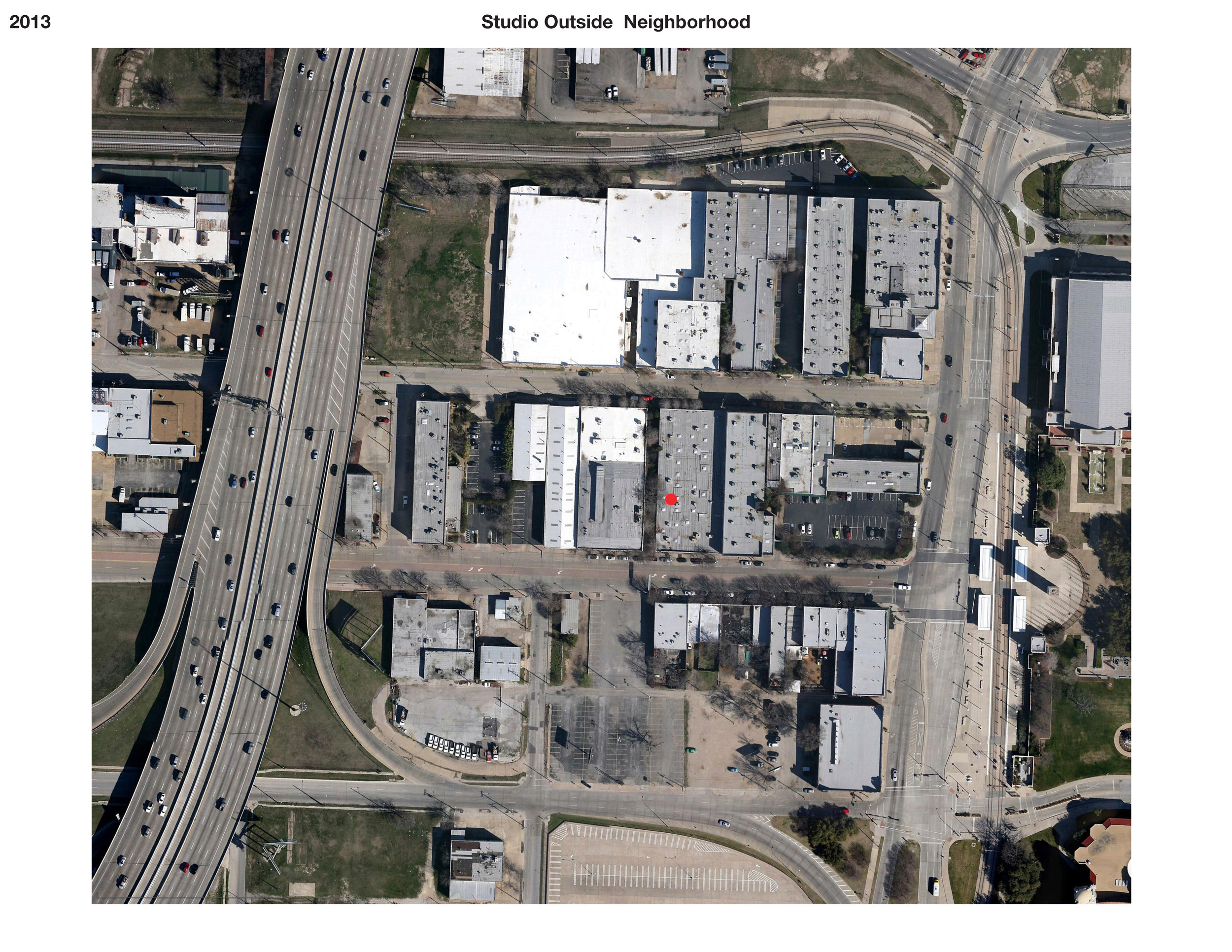 Current aerial of the office and surrounding area, Fair Park far right, Interstate 30 far left.