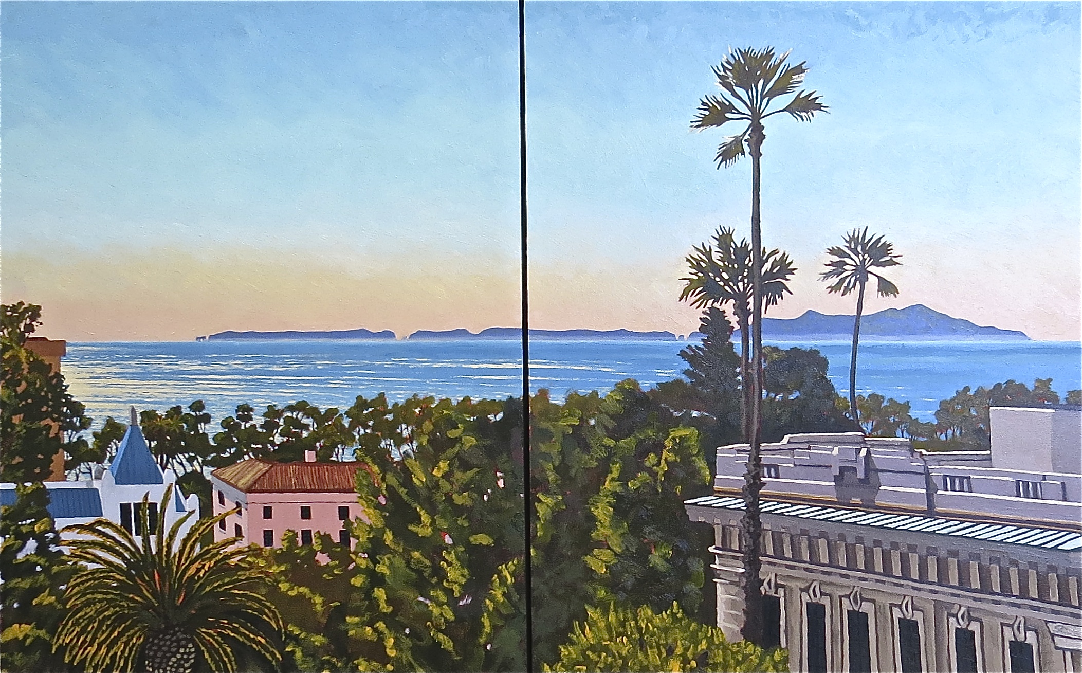 """""""Anacapa Island from the Botanical Garden"""" oil on panel 30 x 48"""