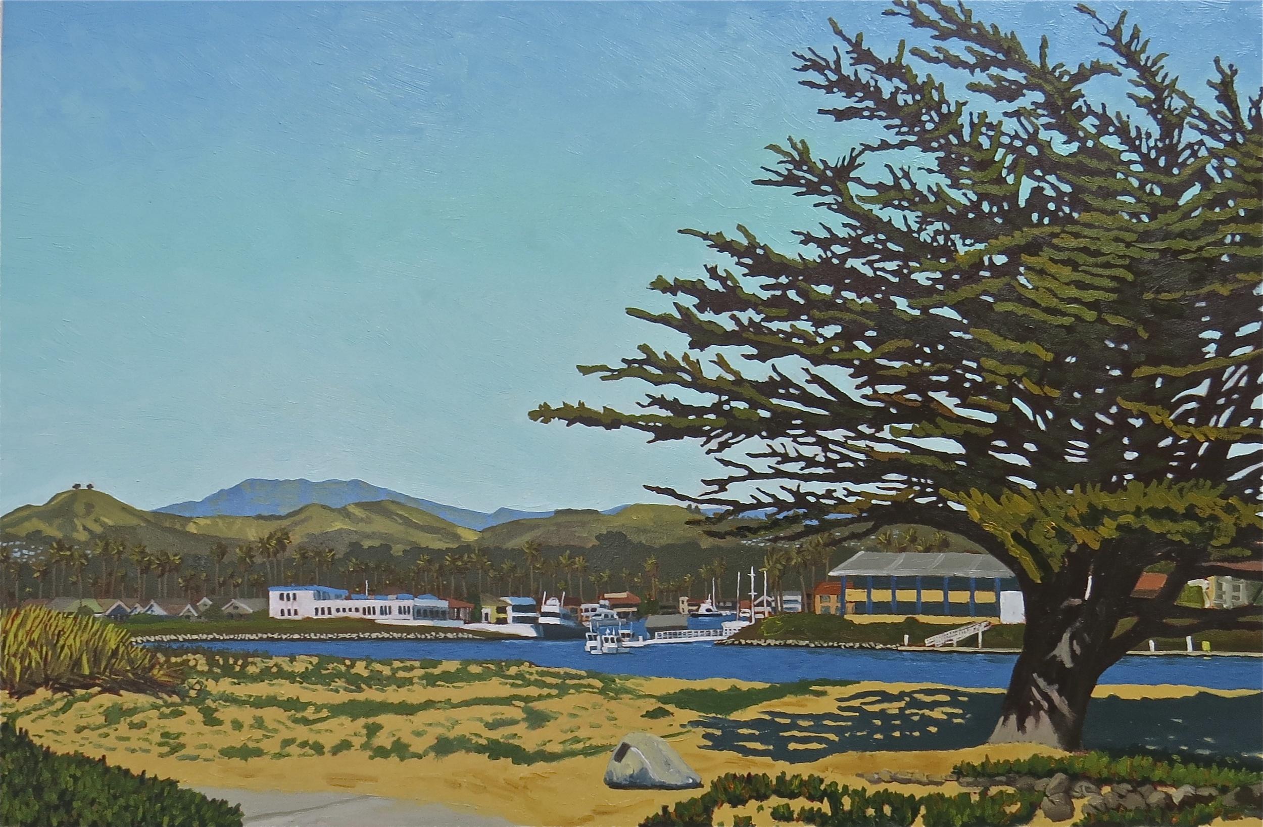 """Marina Park Looking Back"" oil on birch panel 24 x 36"