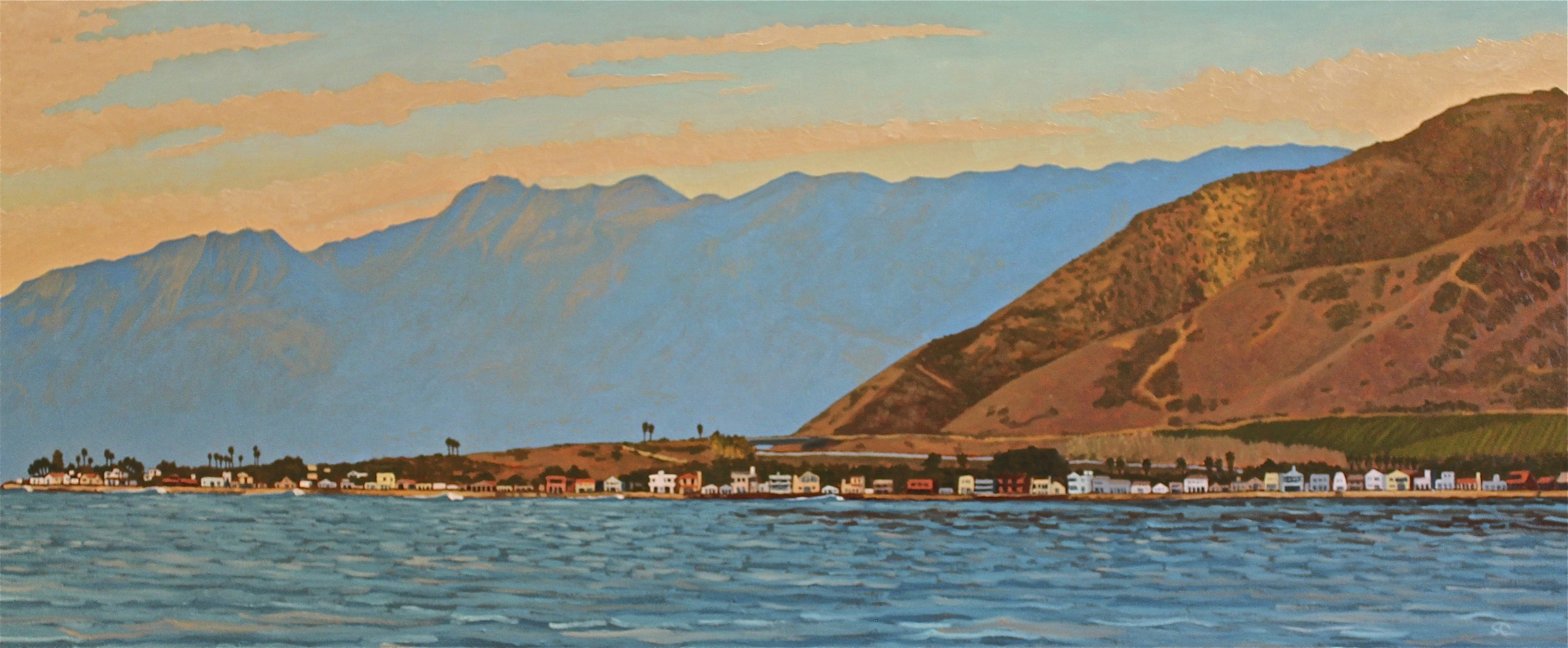 """Pitas Point"" oil on birch panel 26 x 62 sold"