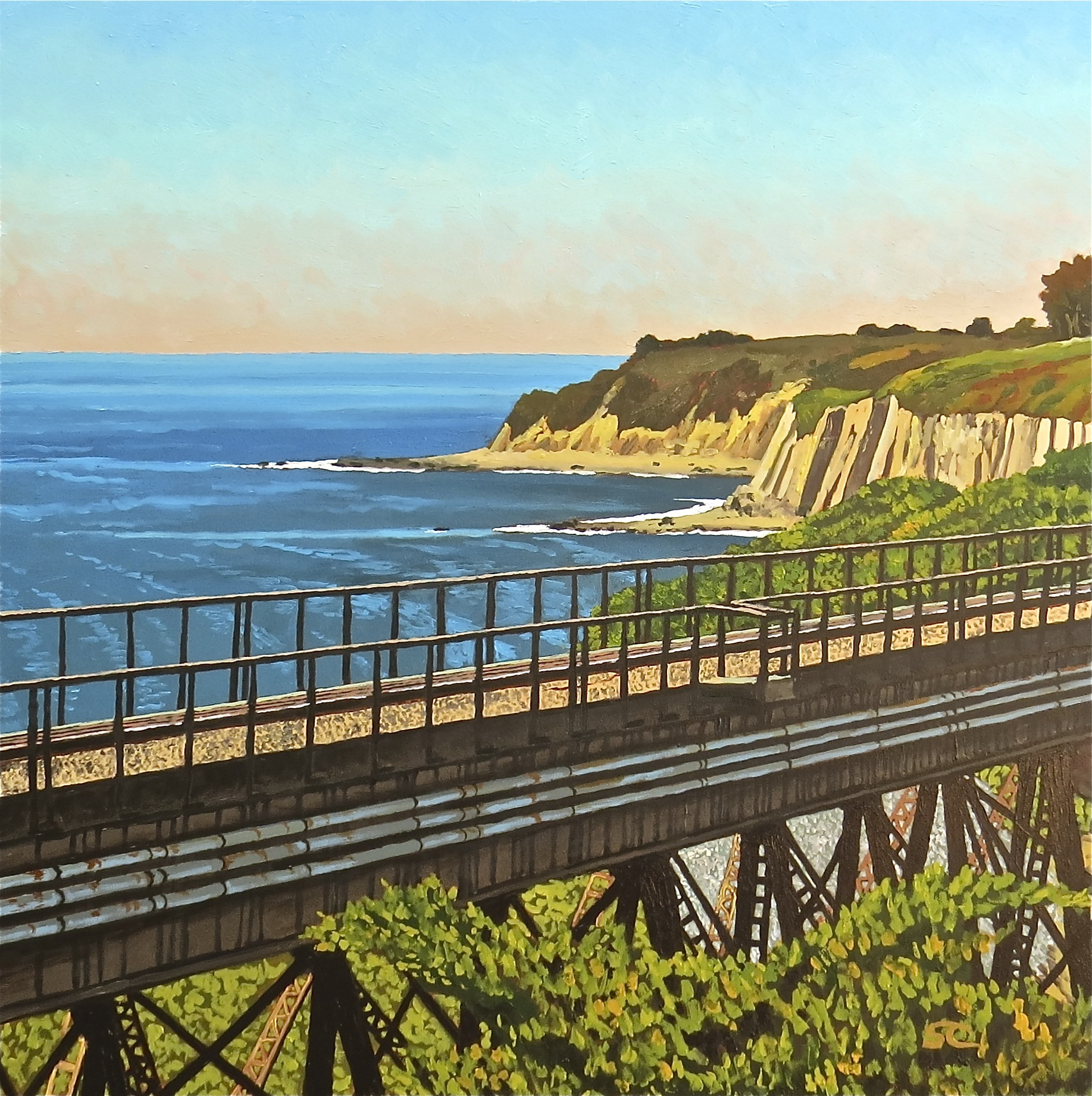 """Arroyo Hondo Bridge, Gaviota Coast"" oil on birch panel 24 x 24"