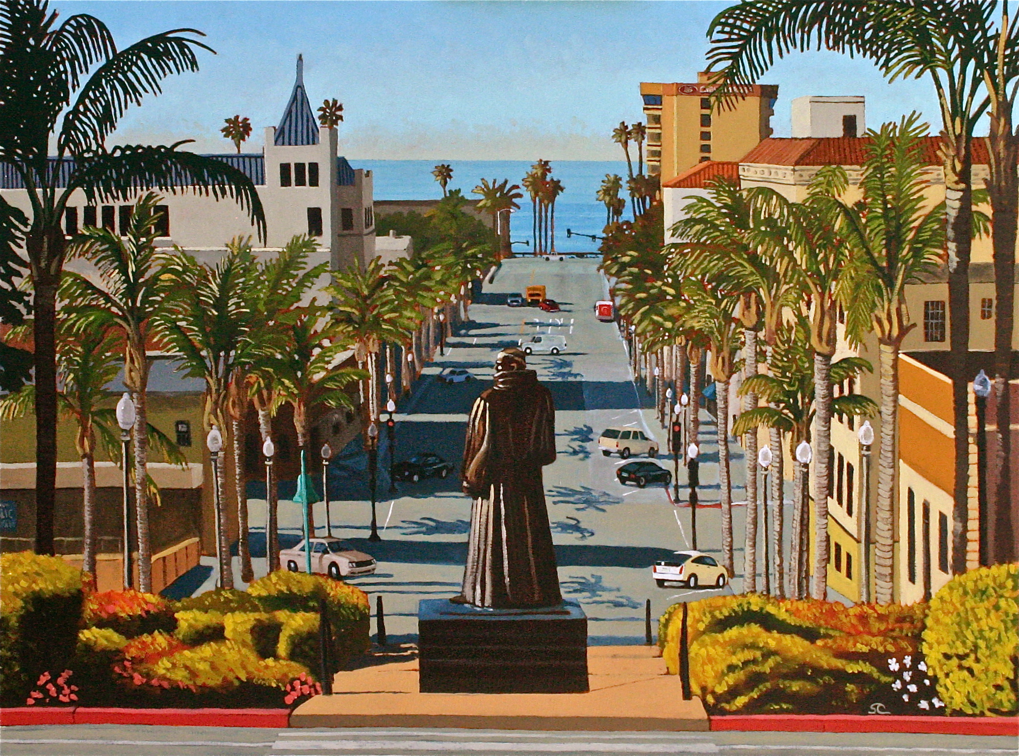 """""""Looking Down California Street"""" oil on canvas 36 x 48 (sold)"""