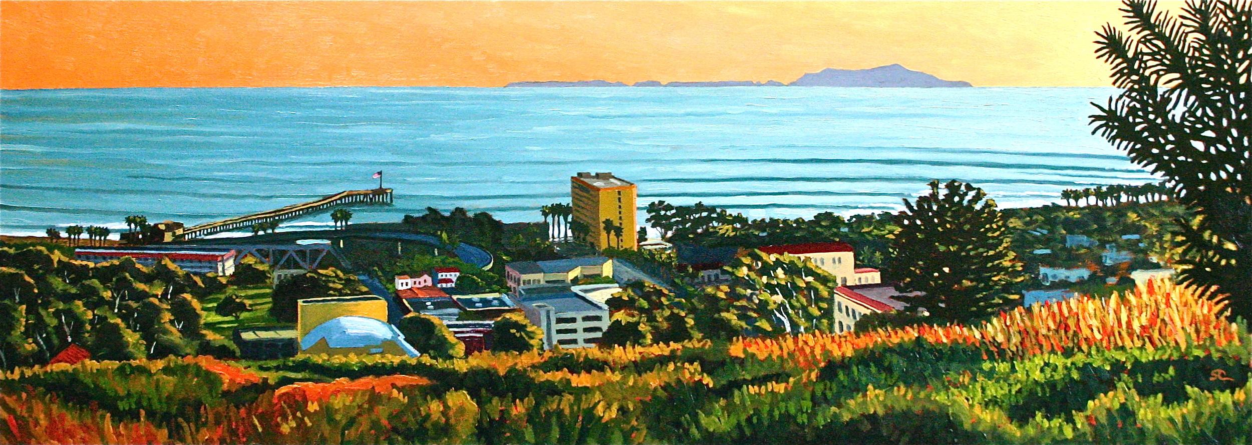 """Ventura Sunset Glow"" oil on birch panel 18 x 48 (sold)"