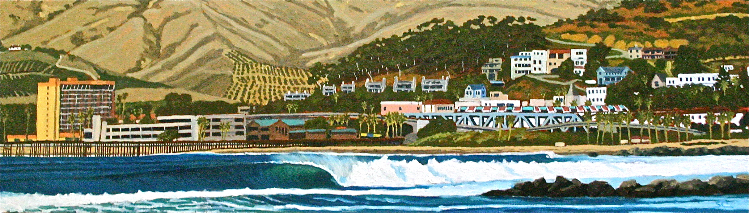 """""""Pierpont Bay Perfection"""" oil on birch panel 14 x 48 (sold)"""