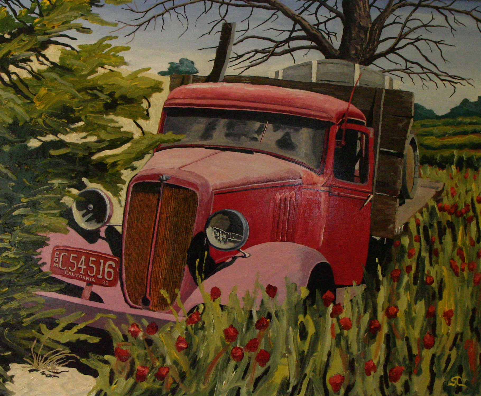 """Truck in the Weeds, Lazy Creek Winery, Anderson Valley"" oil on birch panel 40 x 48, sold."