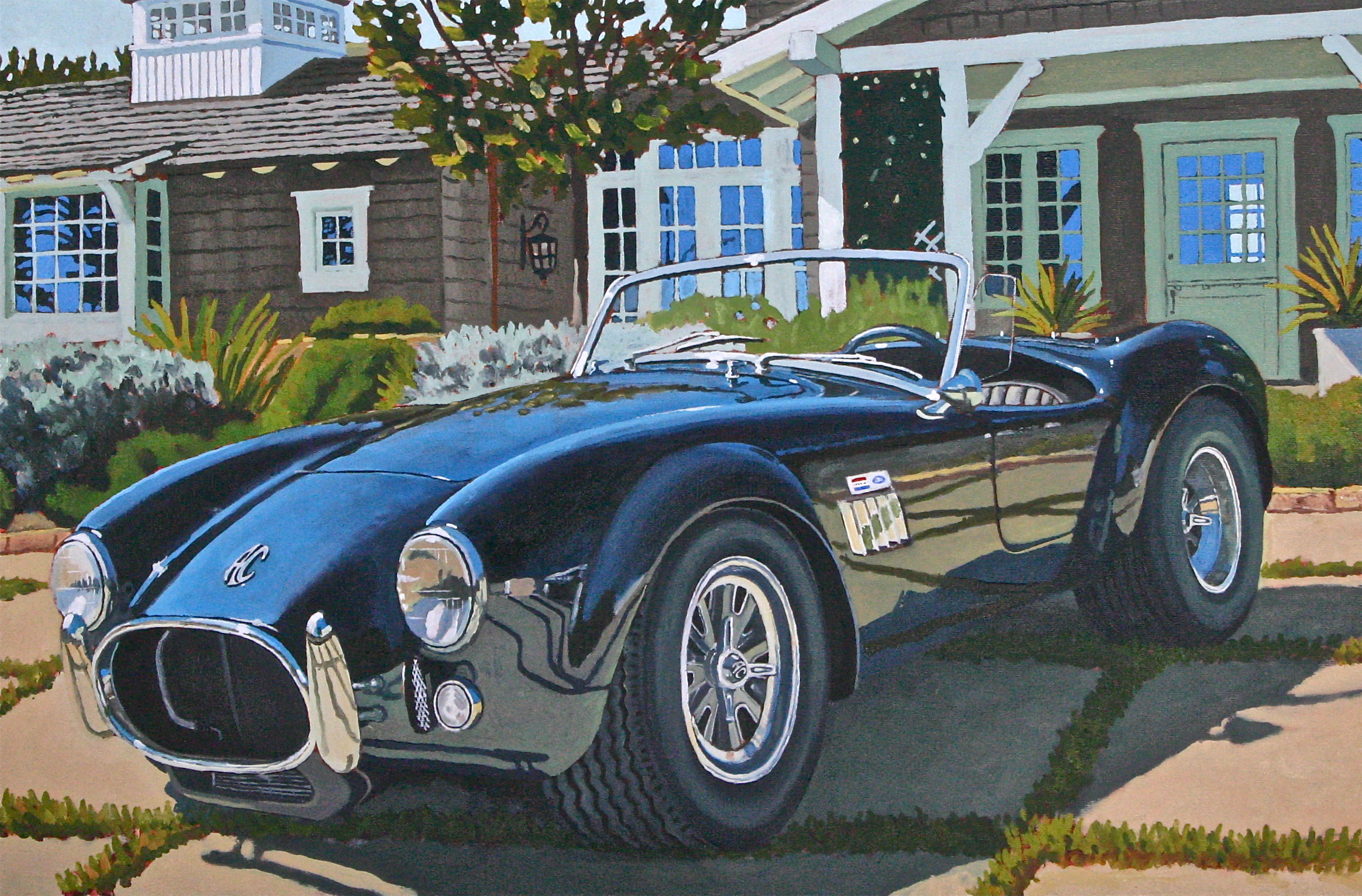 """Ira's New Car"" oil on canvas 24 x 36, sold."