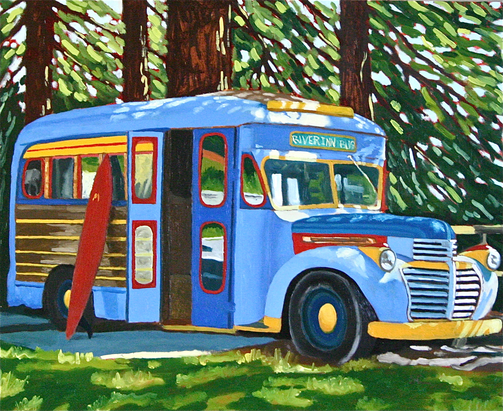 """""""River Inn Bus"""" oil on panel 18 x 22 sold"""