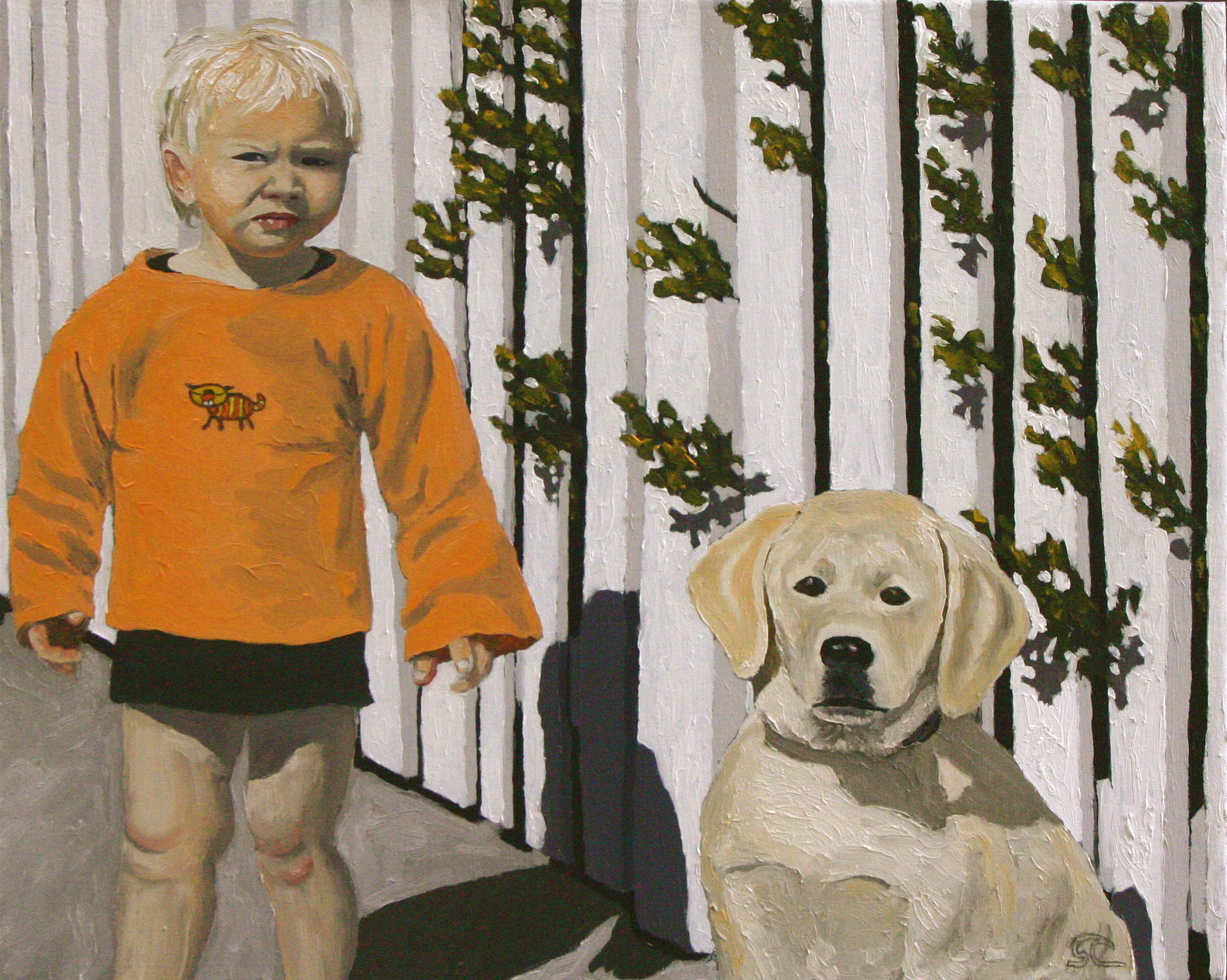 """""""Finn and Rosie"""" oil on canvas 18 x 22 sold"""
