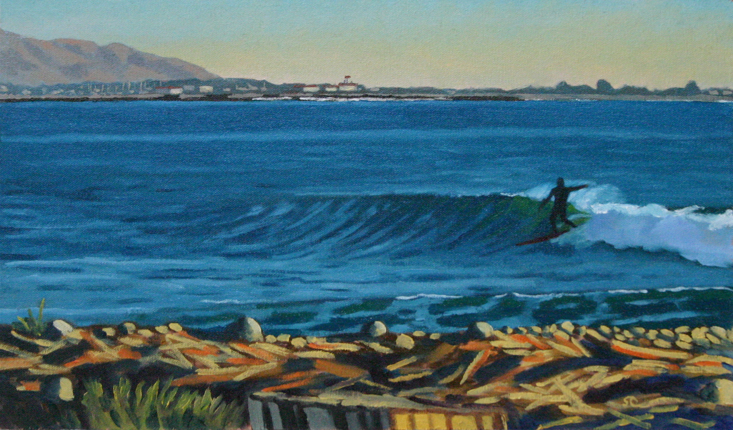 """""""Late Afternoon Surf"""" oil on canvas 12 x 20, sold"""