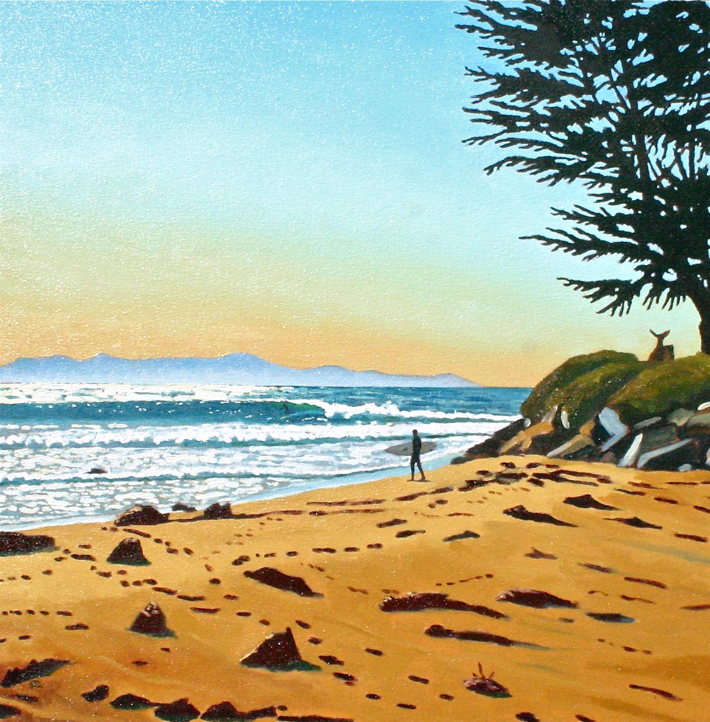 """Rincon Rivermouth"" oil on canvas 28 x 28"