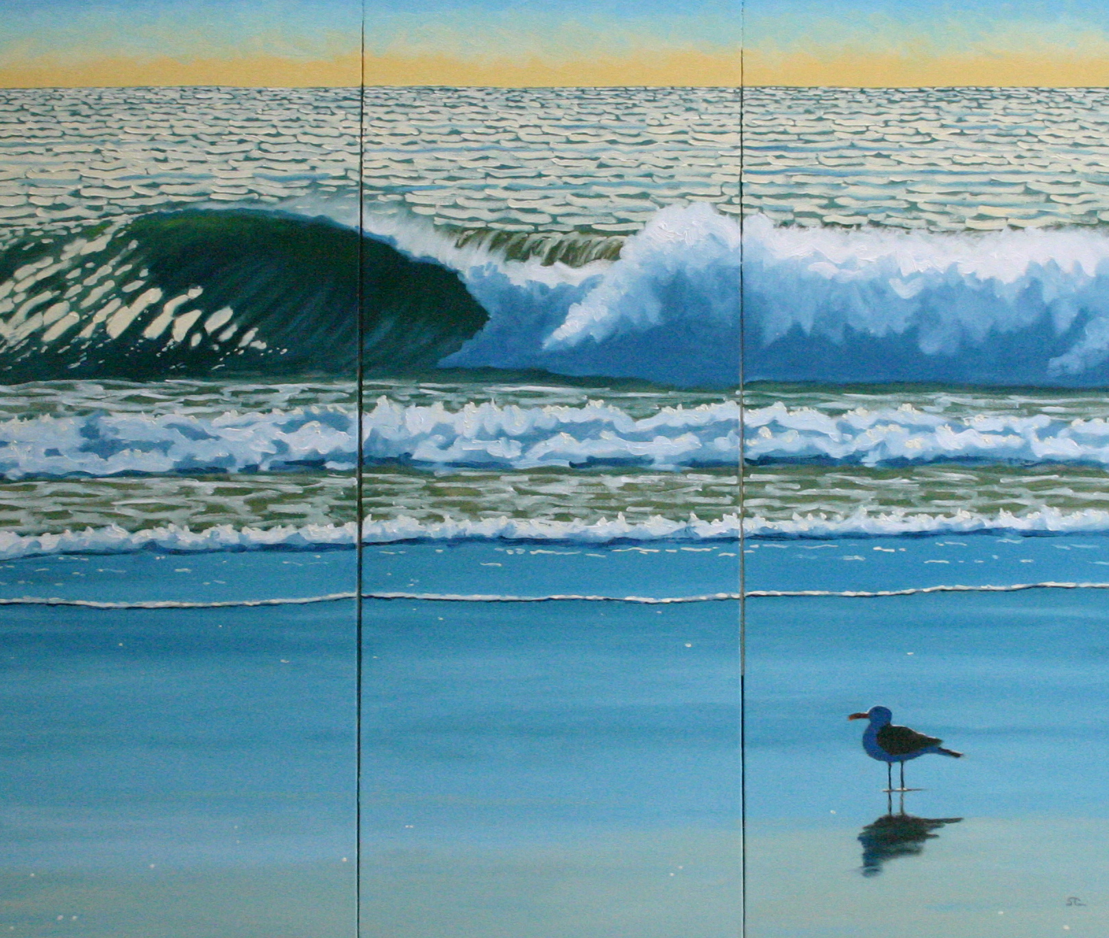 """""""In my Other Life I was a Surfer"""" oil on canvas 36 x 36 triptych"""