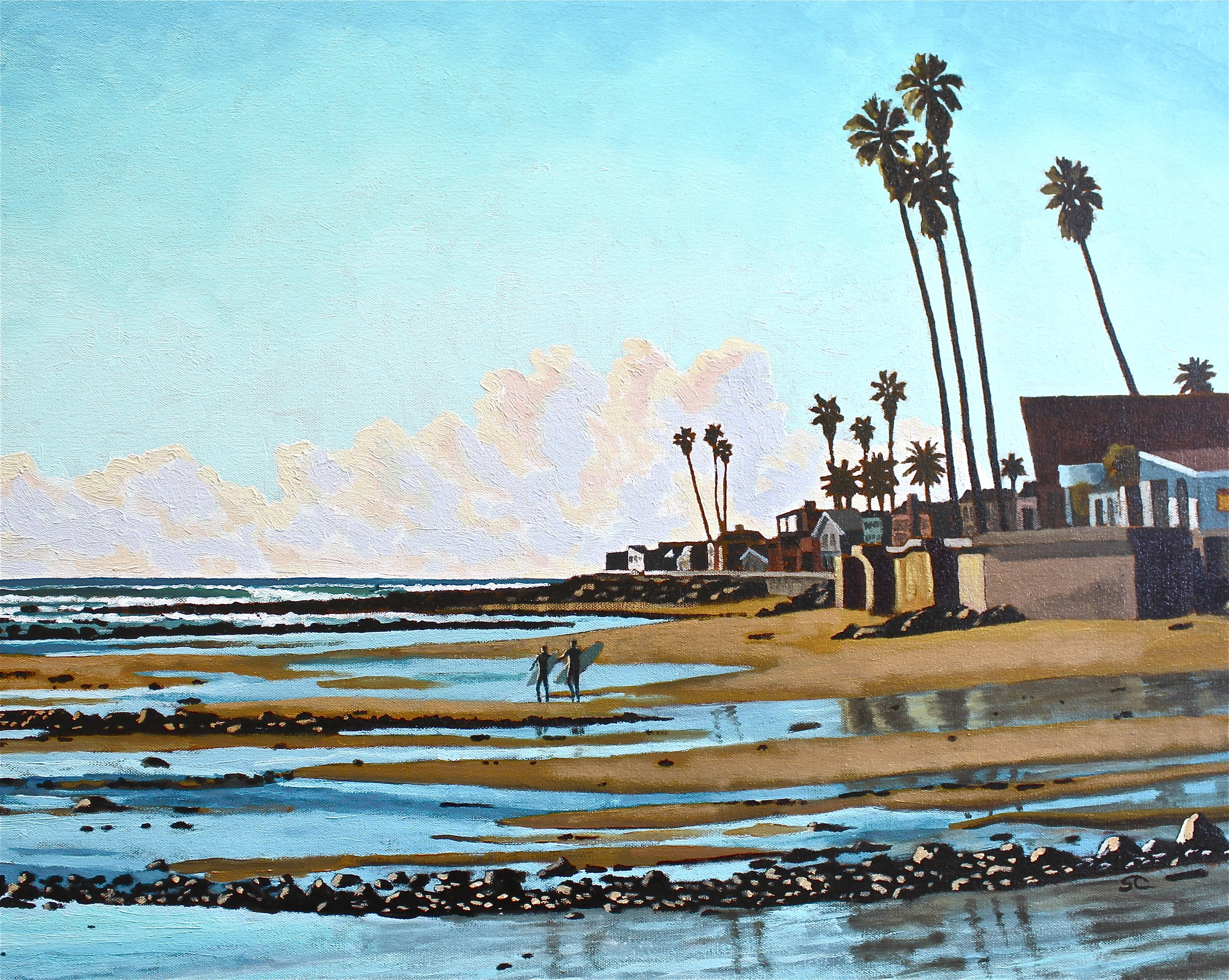 """""""Walking Down for a Low Tide Session"""" oil on canvas 24 x 30, sold"""