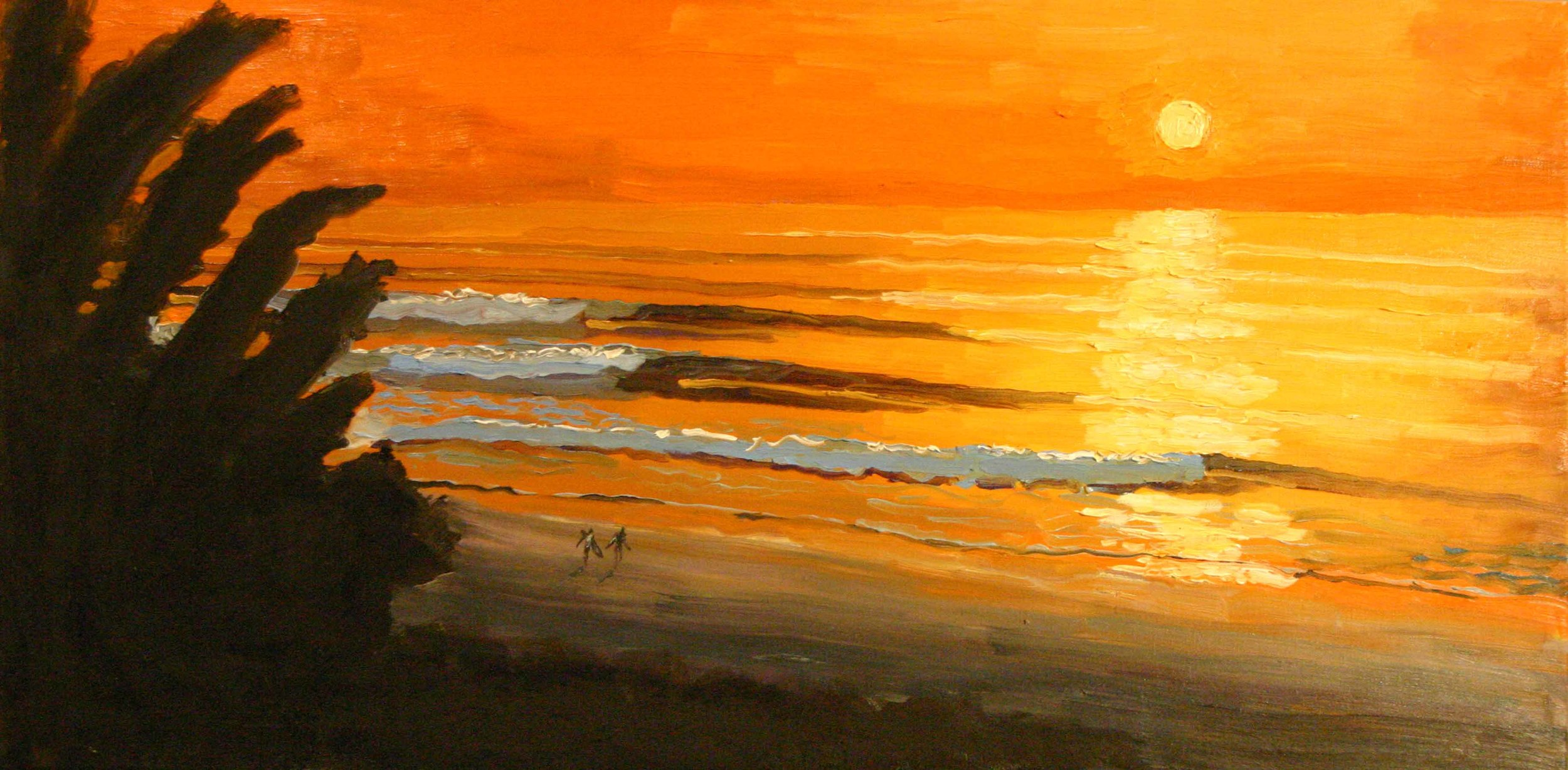 """Evening Glass"" oil on canvas 18 x 36 sold"