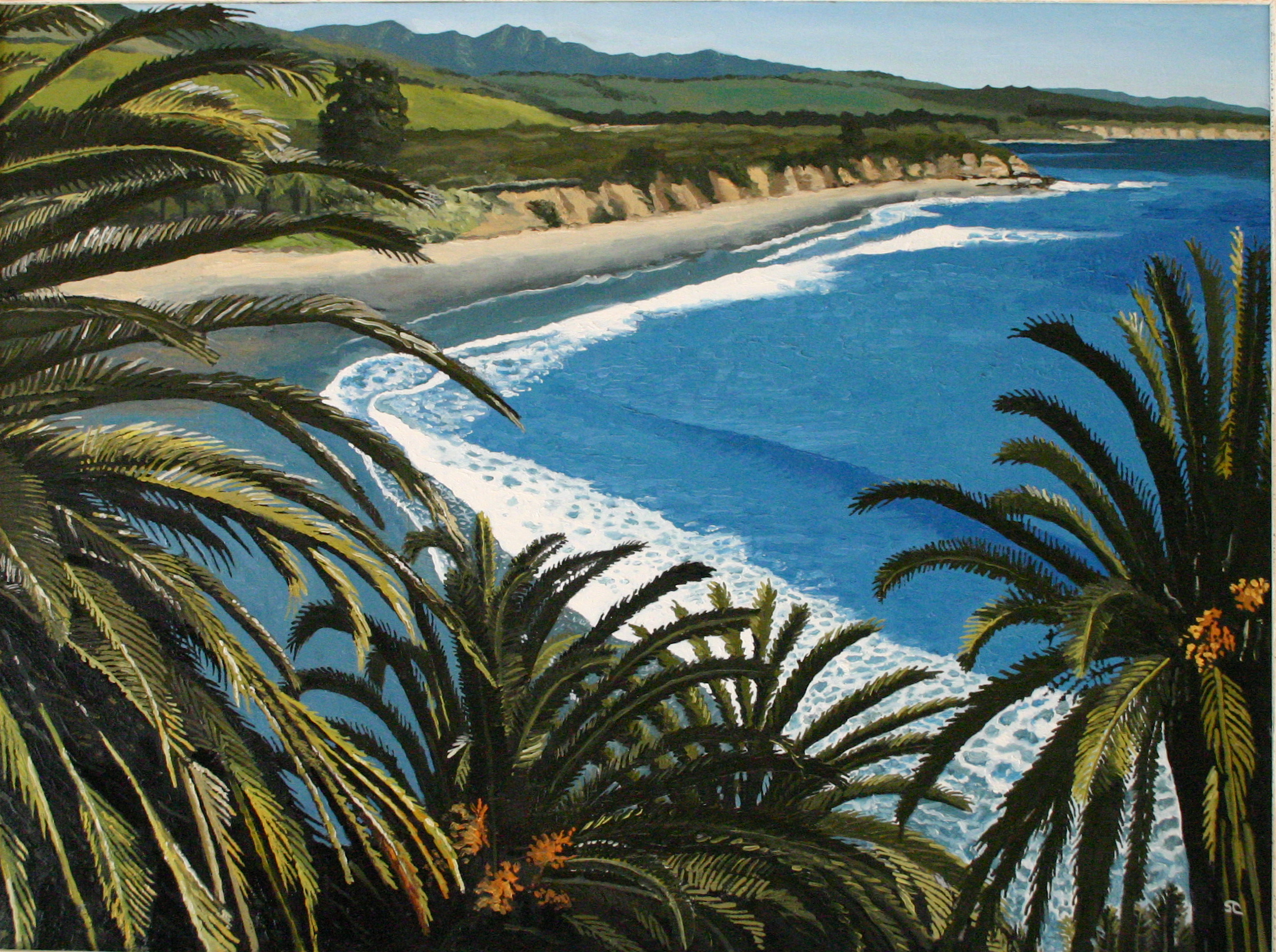 """Refugio Palms"" oil on canvas 30 x 40 sold"
