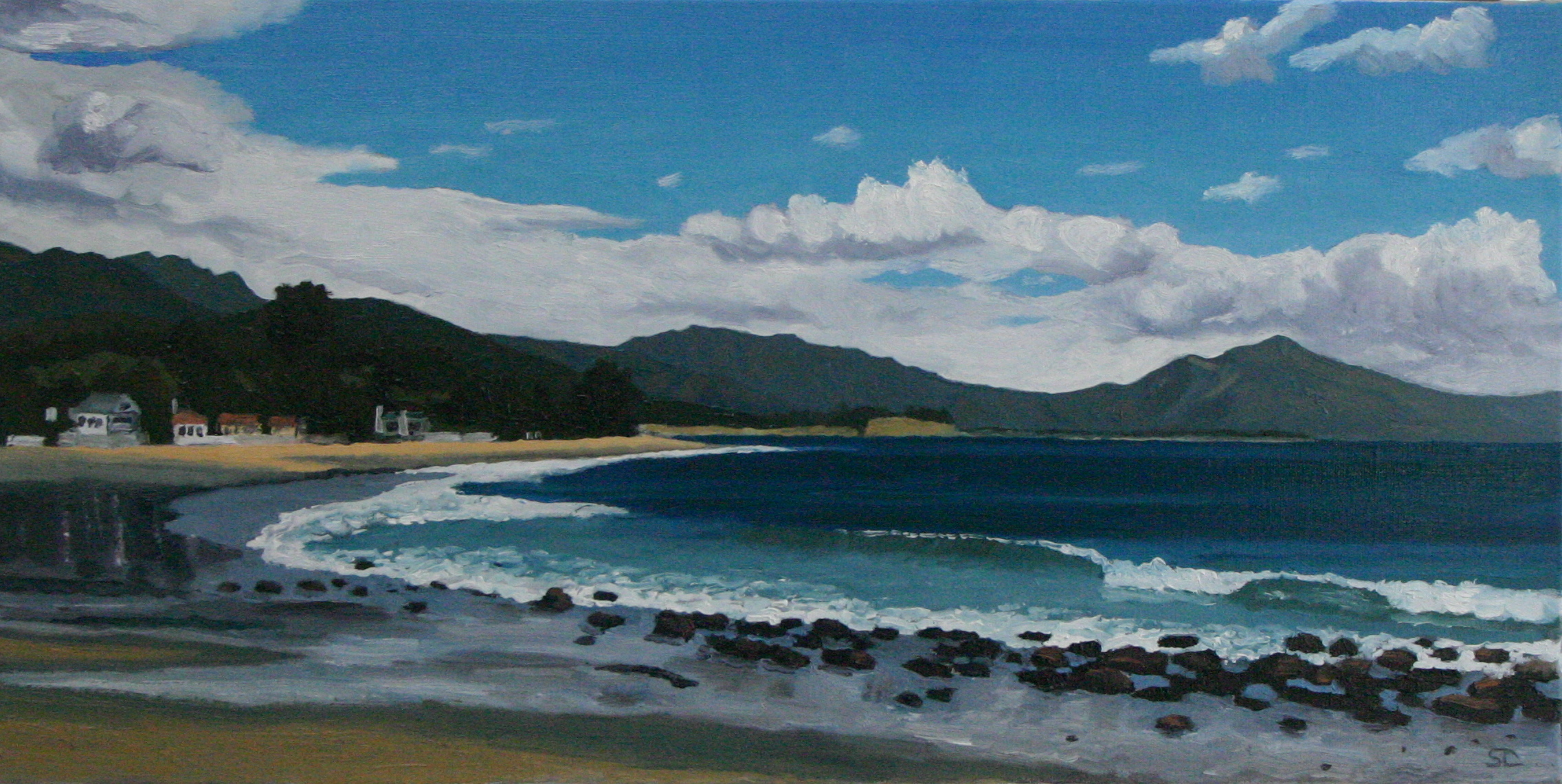"""Miramar Beach"" oil on canvas 15 x 30 sold"