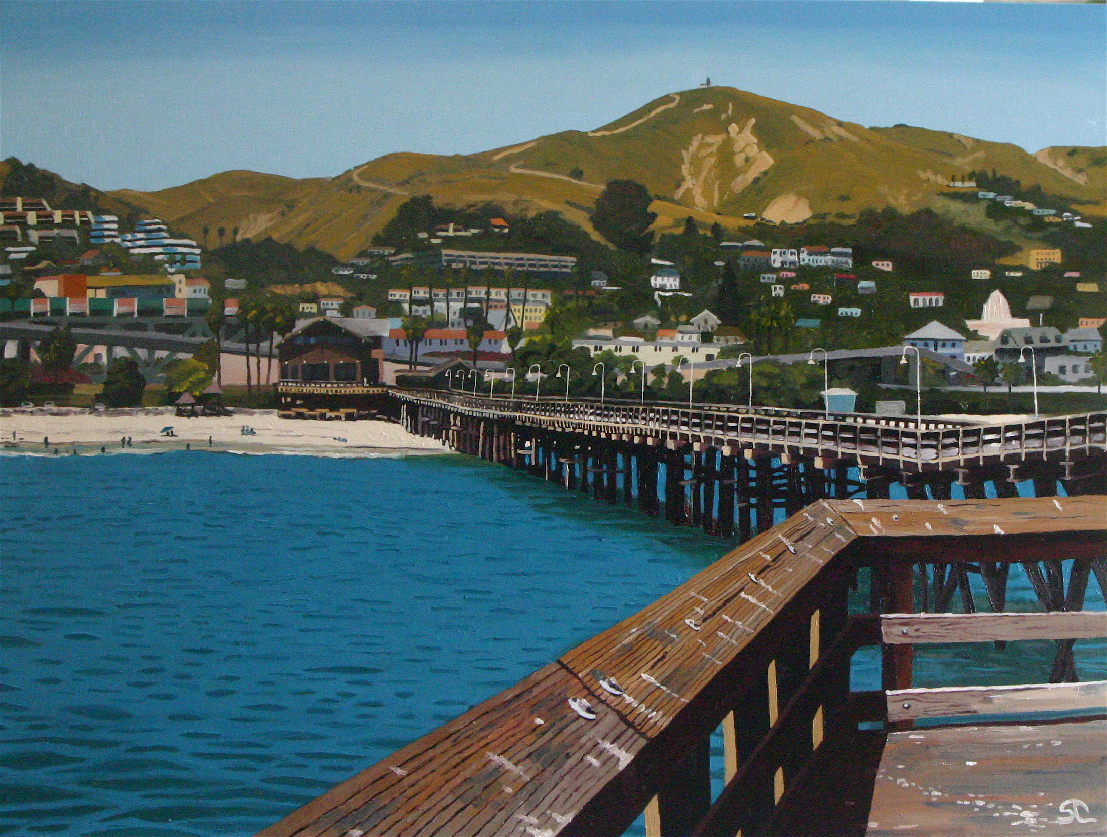 """""""On The Pier"""" oil on canvas 30 x 40 sold"""