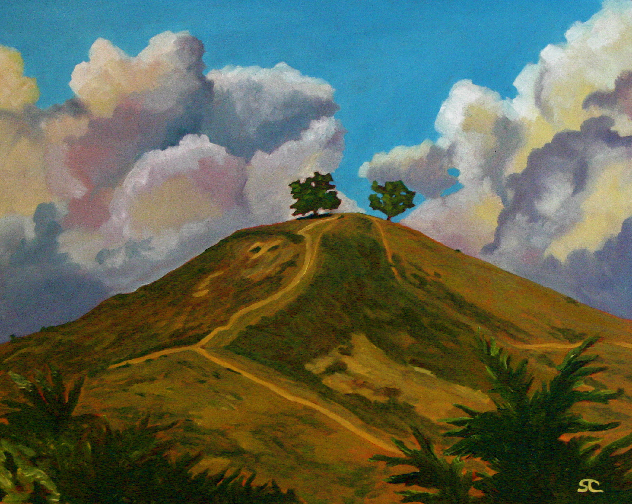 """""""Two Tree with Thunderheads"""" oil on canvas 24 x 30 sold"""