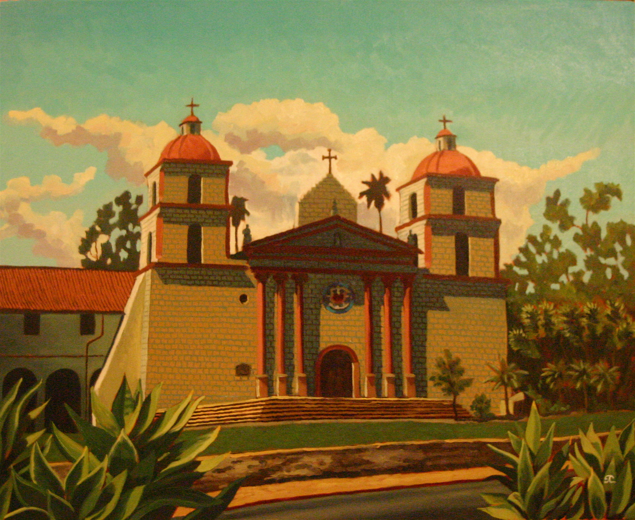 """Mission Santa Barbara"" oil on canvas 24 x 30"