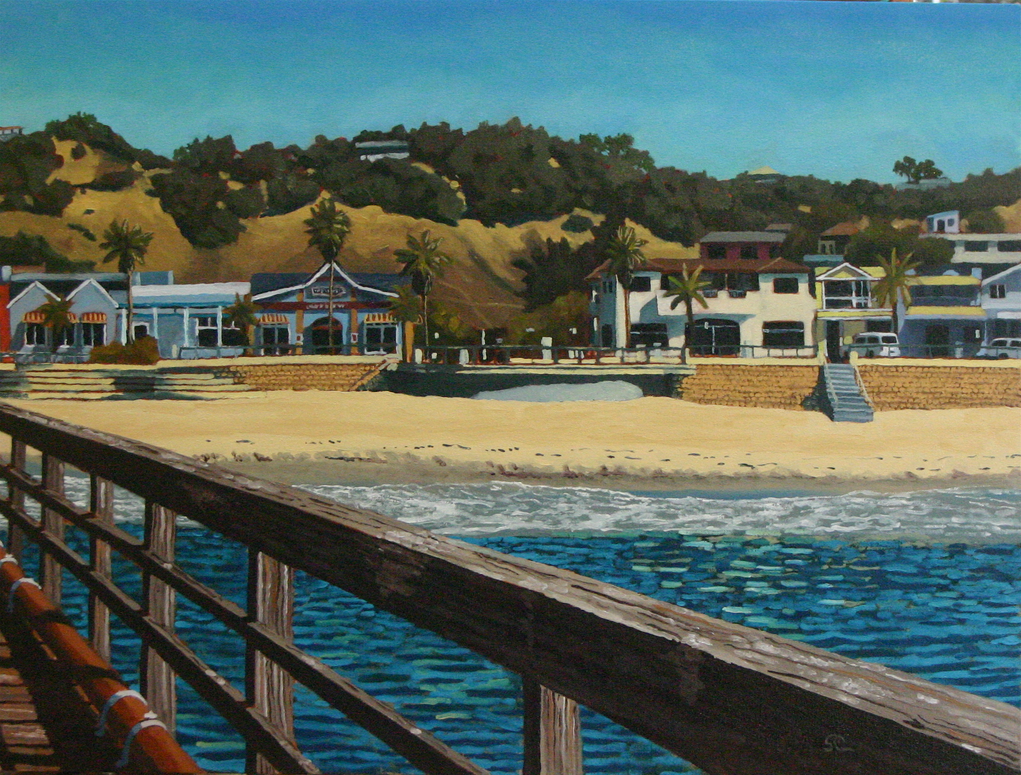 """From Avila Beach Pier"" oil on canvas 24 x 32 sold"