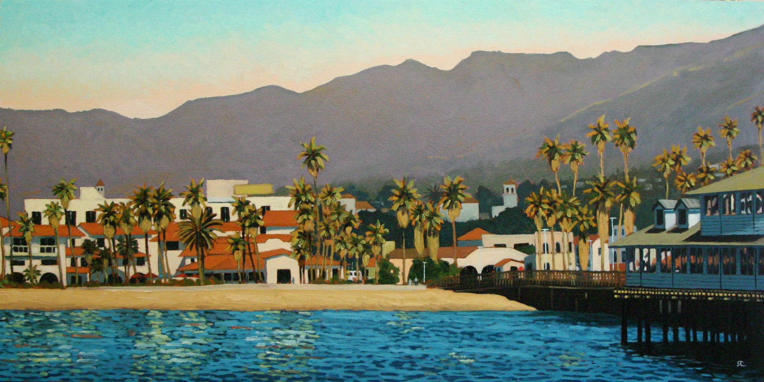 """From Stearns Wharf"" oil on canvas 24 x 48 sold"