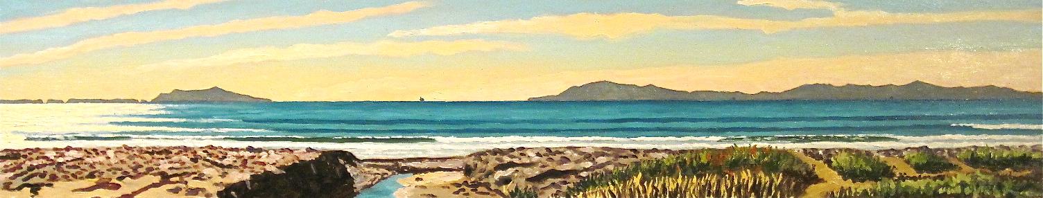 """""""Sanjon Sloughs"""" oil on panel 8 x 40"""